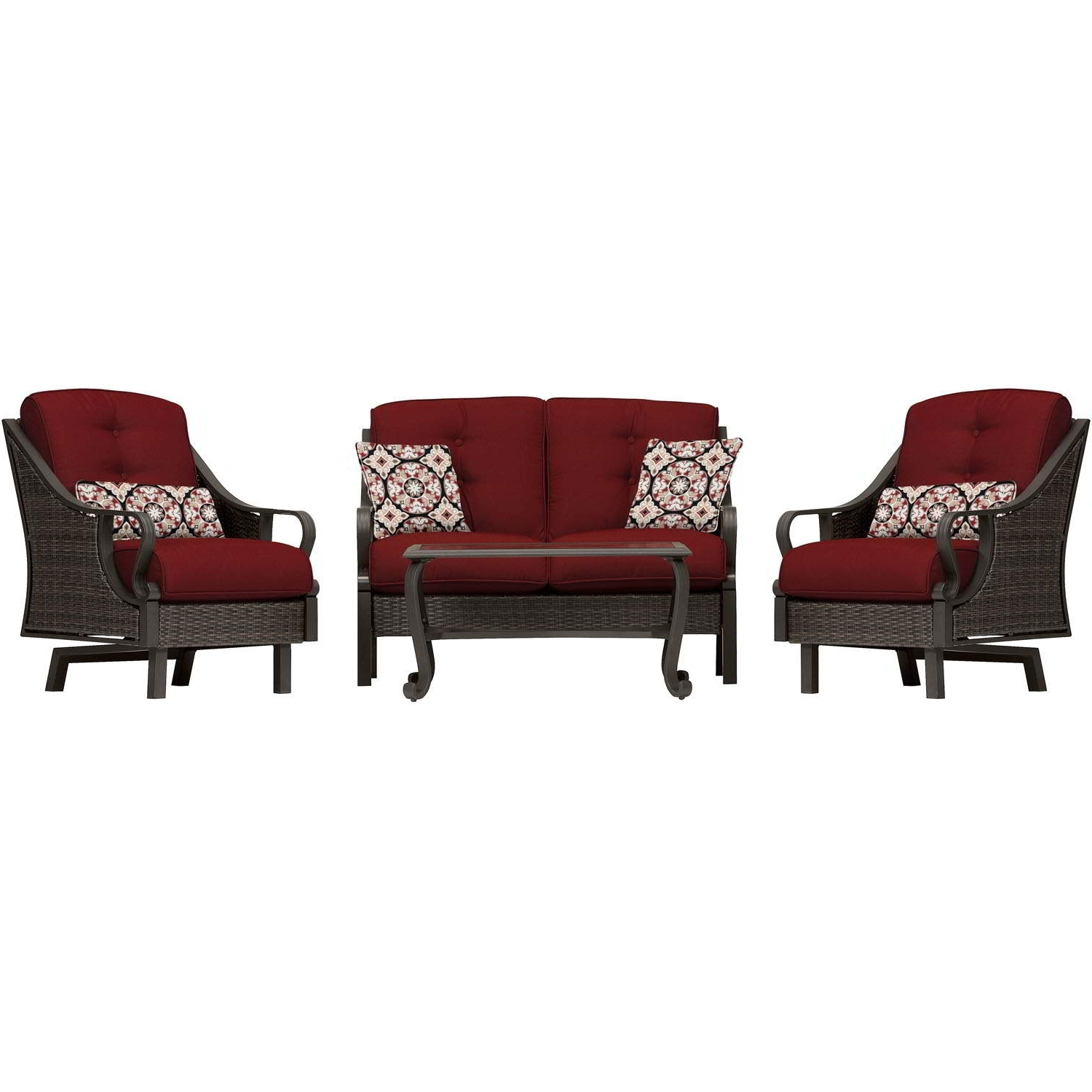 Wicker 4pc Patio Conversation Sets With Navy Cushions With 2018 Ventura 4 Piece Seating Set In Crimson Red – Ventura4pc Red (View 11 of 20)