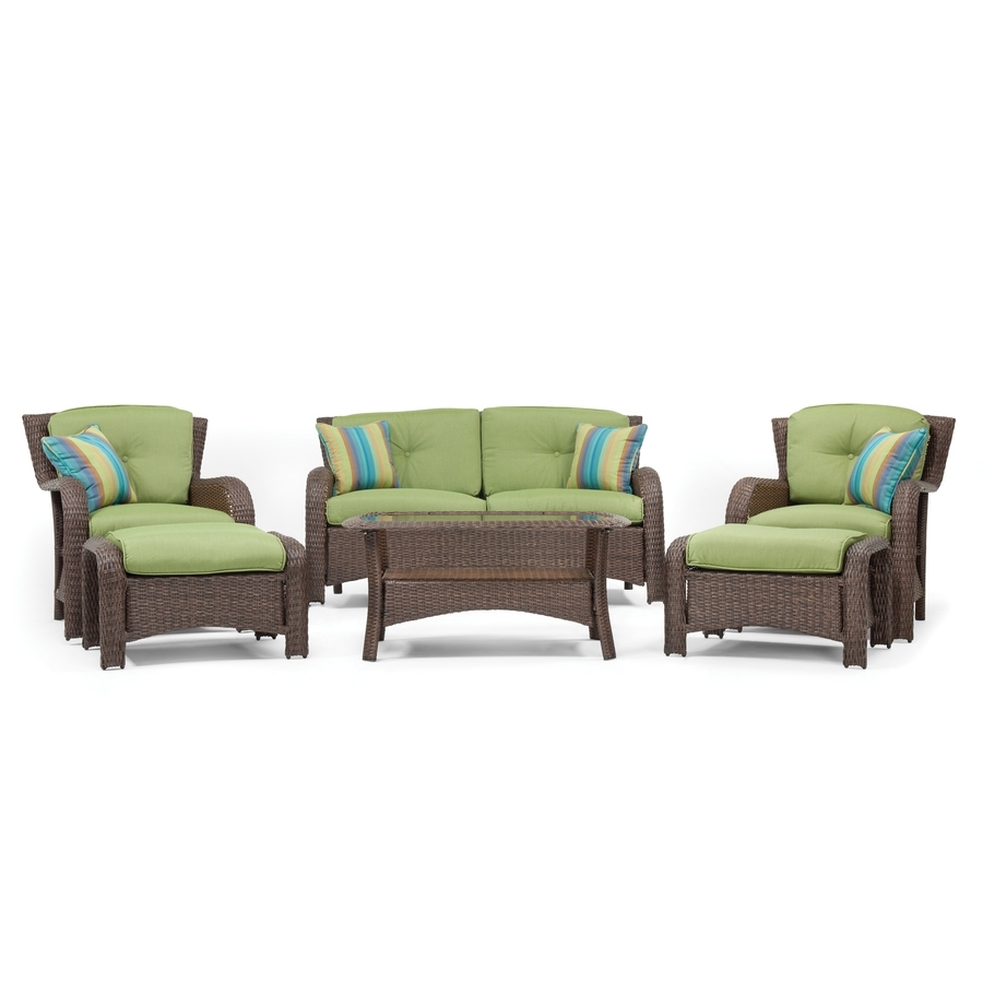 Wicker 4pc Patio Conversation Sets With Navy Cushions With Widely Used Shop Patio Furniture Sets At Lowes (View 16 of 20)