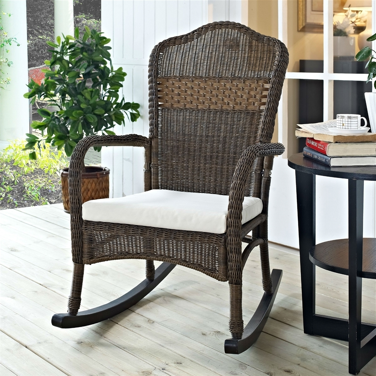 Wicker Patio Furniture Rocking Chair Mocha With Beige Cushion For Most Current Resin Wicker Patio Rocking Chairs (View 20 of 20)