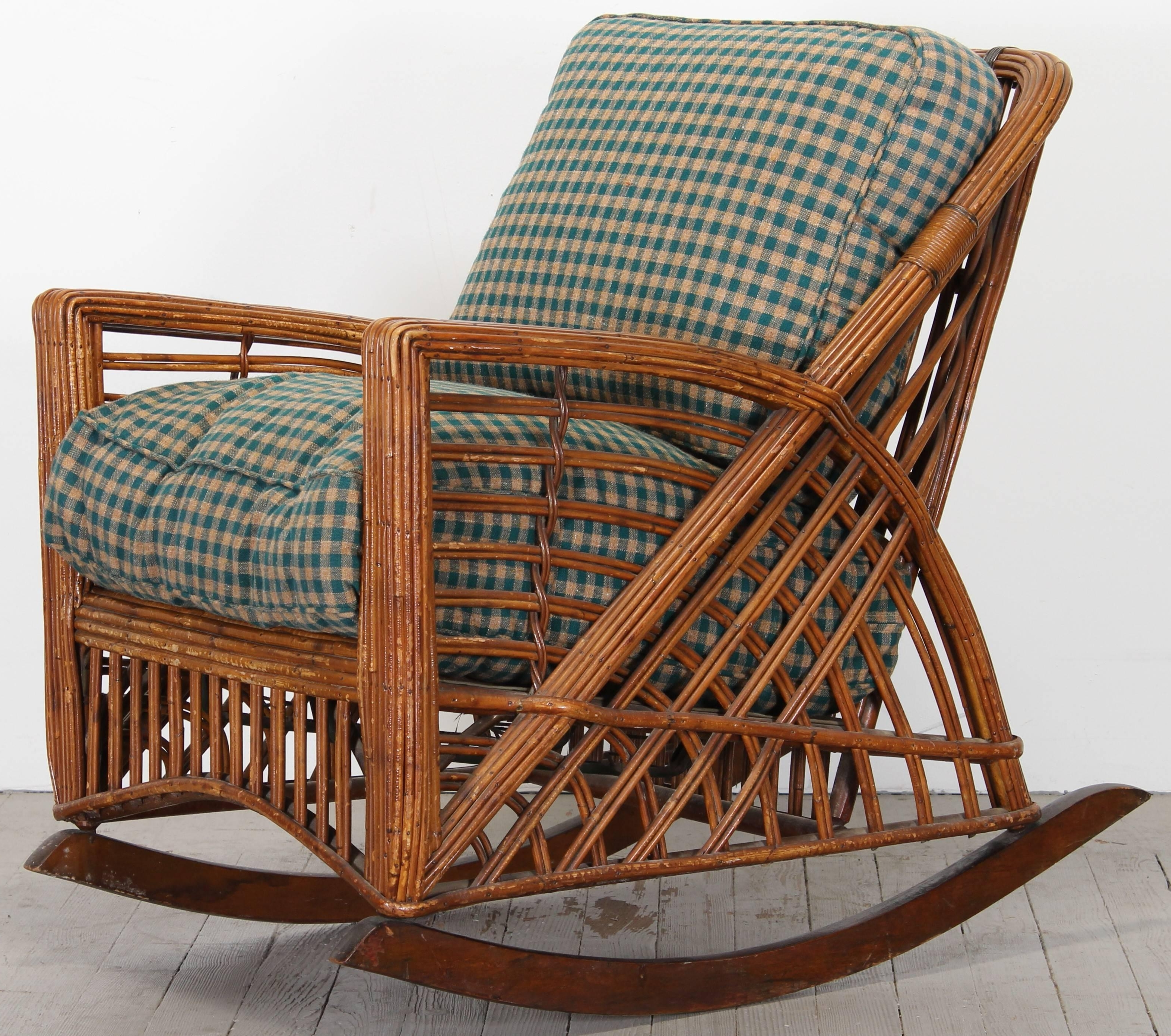 Wicker Rocking Chair With Magazine Holder Inside Most Recently Released Cramer Art Deco Stick Reed Rattan Wicker Rocking Chair, 1930S At 1Stdibs (View 17 of 20)