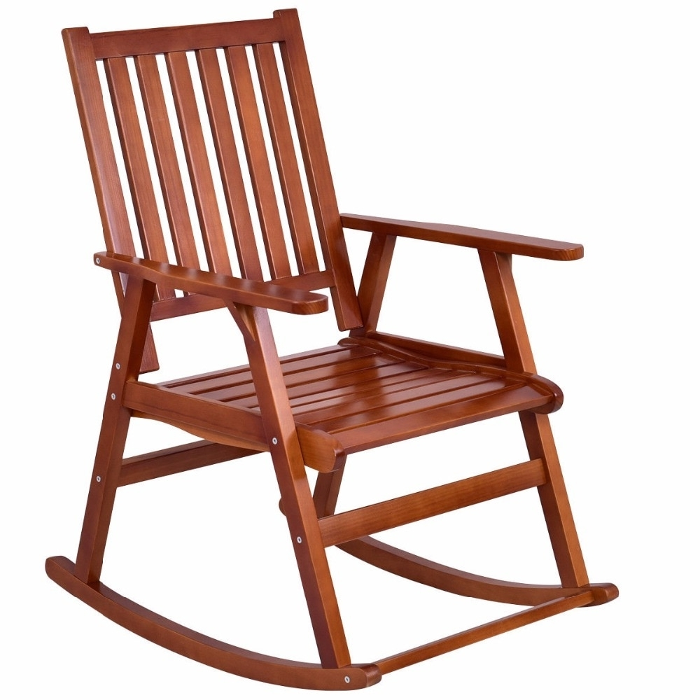Wicker Rocking Chair With Magazine Holder Intended For Most Current Giantex Wood Rocking Chair Garden Single Porch Rocker Indoor Outdoor (View 18 of 20)