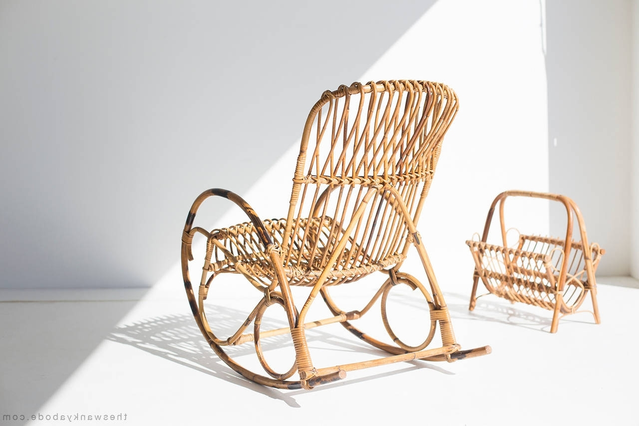 Wicker Rocking Chair With Magazine Holder Pertaining To Well Known Franco Albini Style Wicker Rocking Chair And Magazine Rack For Sale (View 19 of 20)