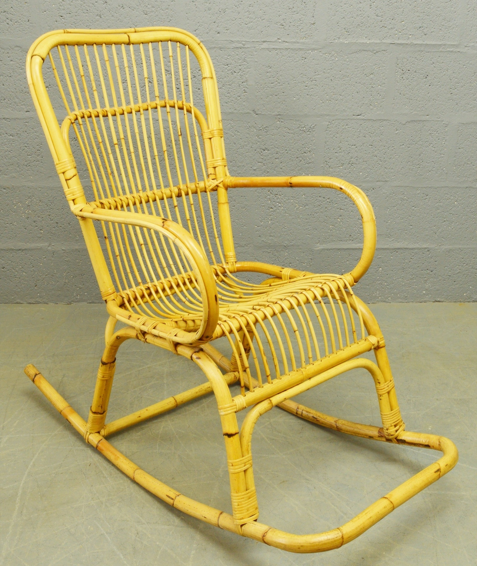 Wicker Rocking Chair With Magazine Holder Regarding 2019 Mid Century Bamboo And Rattan Rocking Chair – 1960S – Design Market (View 20 of 20)