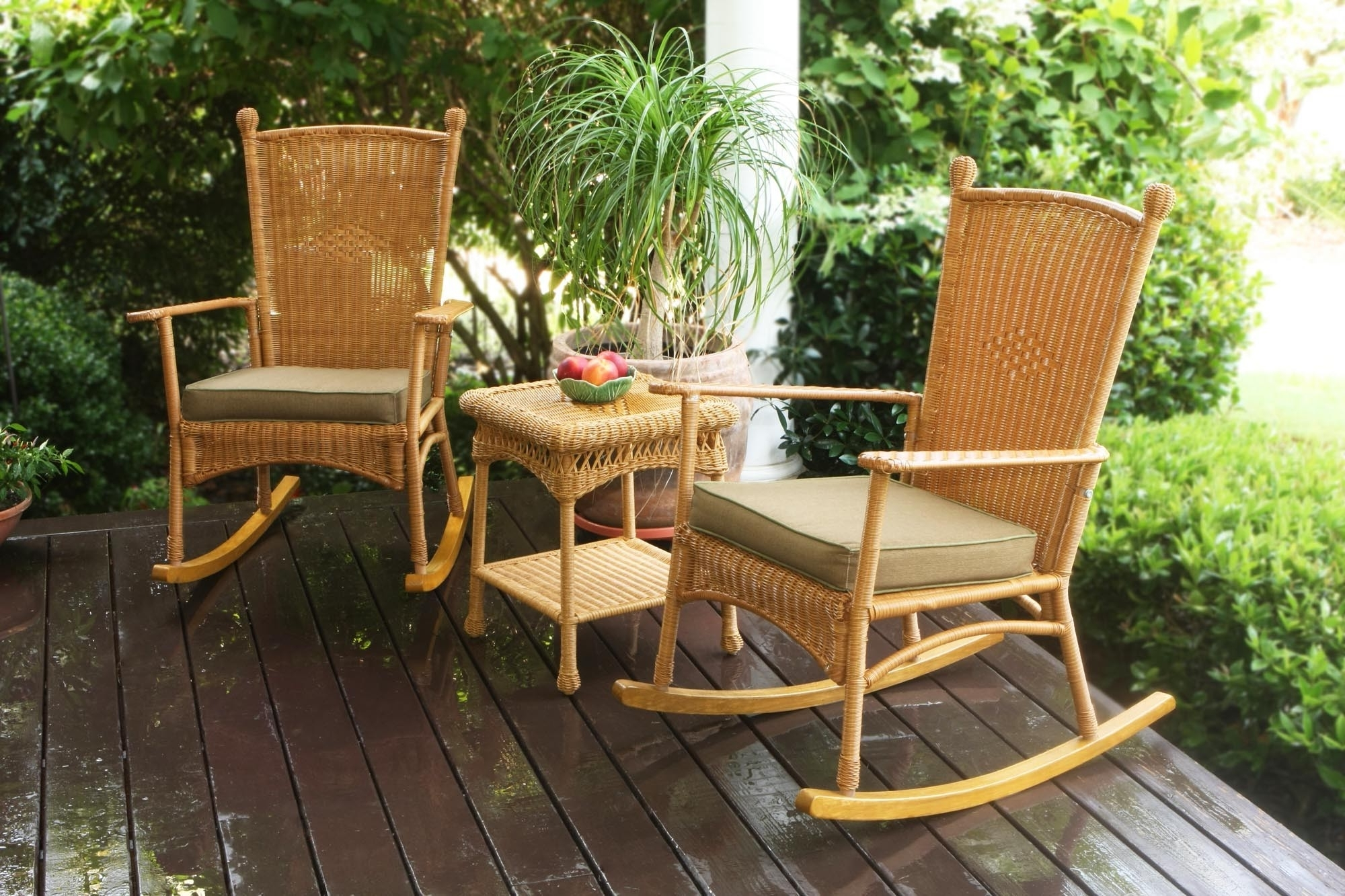 Wicker Rocking Chairs Sets In Favorite Furniture: Tortuga Outdoor Portside Classic Rocking Chair Set Wicker (View 12 of 20)