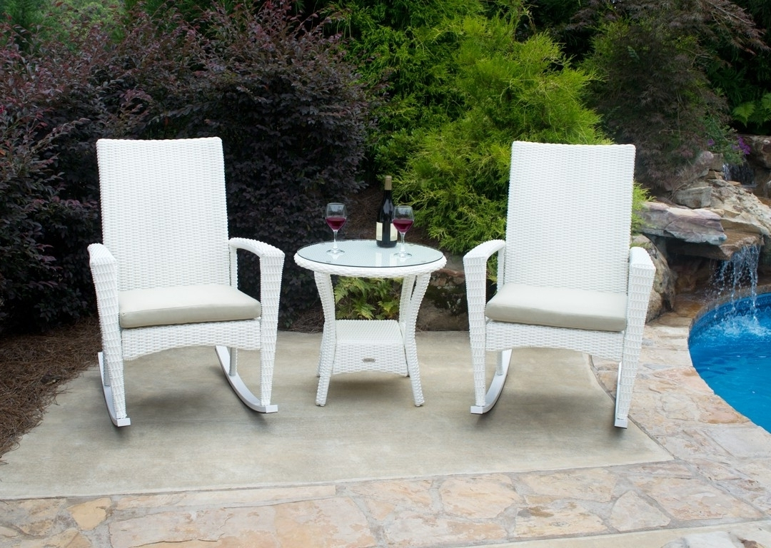 Wicker Rocking Chairs Sets Throughout Most Up To Date Bayview Rocking Chair 3 Piece Set In Magnolia White Wicker (View 11 of 20)