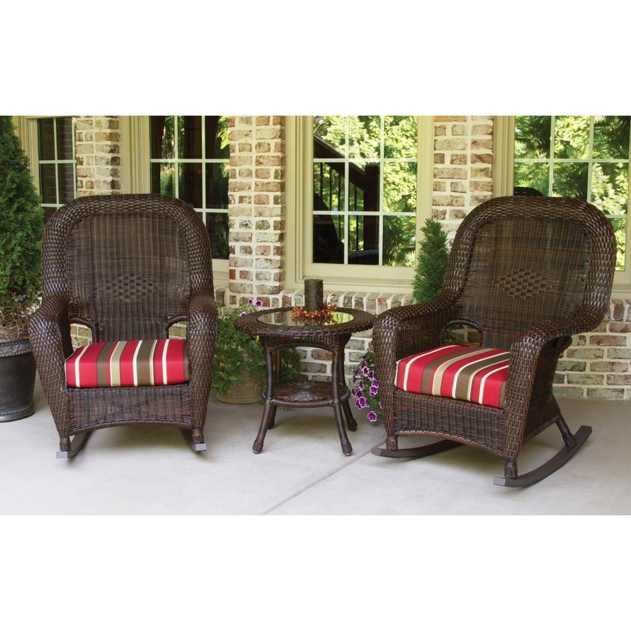 Wicker Rocking Chairs Sets With Regard To Most Current Tortuga Outdoors Lexington Resin Wicker Rocker Set – Rocking Furniture (View 8 of 20)