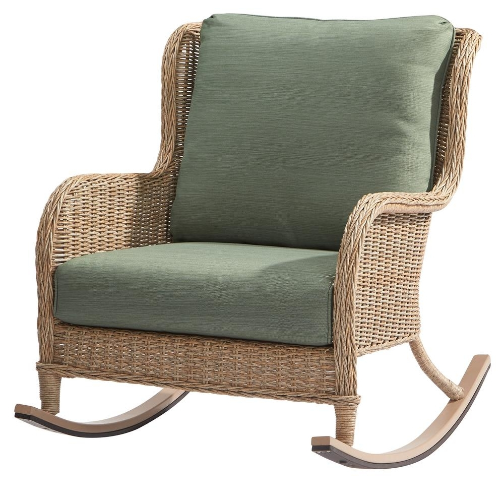 Wicker Rocking Chairs With Cushions Intended For Most Popular Furniture: Comfortable Hampton Bay Lemon Grove Wicker Outdoor (View 16 of 20)