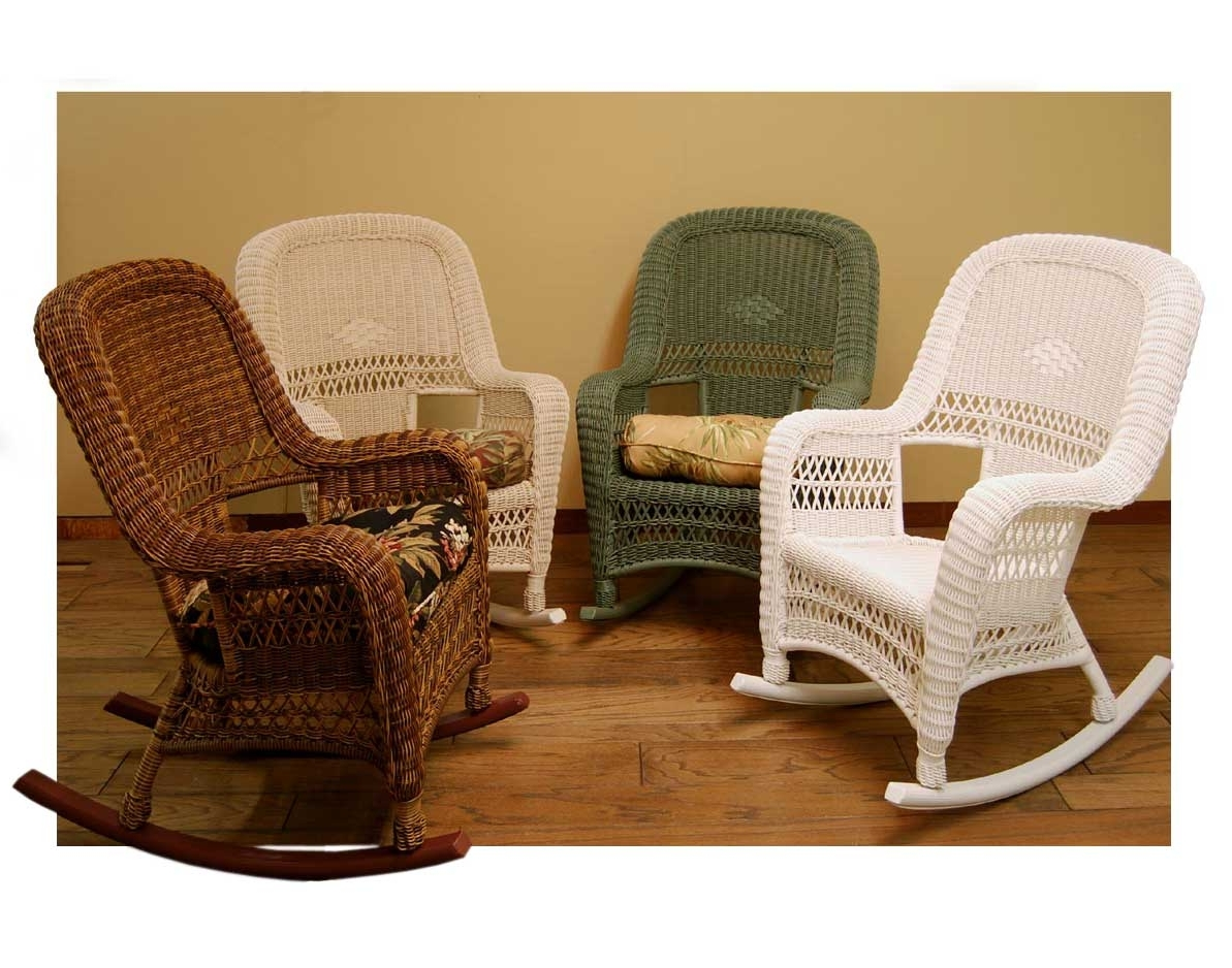 Wicker Rocking Chairs With Cushions Pertaining To Well Known Wicker Sands Rocking Chair W/ Cushion (View 18 of 20)