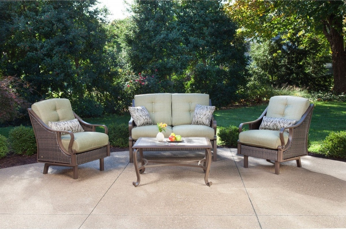 Widely Used Amazon Patio Furniture Conversation Sets Within Hanover Ventura 4 Piece Wicker Outdoor Conversation Set (View 6 of 20)