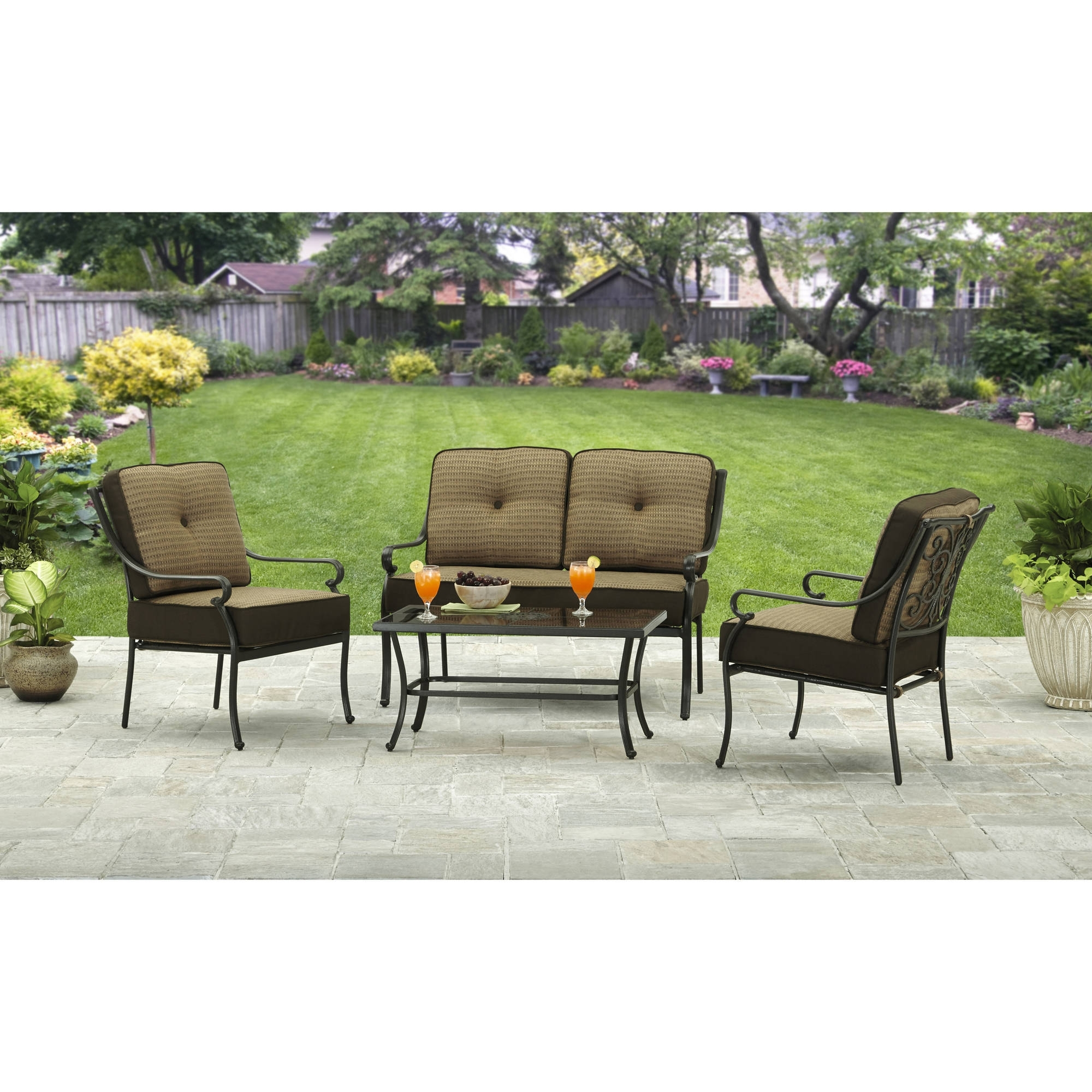 Widely Used Better Homes And Gardens Bailey Ridge 4 Piece Outdoor Conversation Pertaining To 4 Piece Patio Conversation Sets (View 17 of 20)