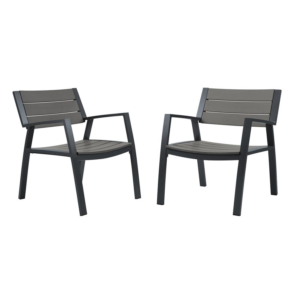 Widely Used Black Aluminum Patio Conversation Sets Regarding Real Flame Anson 2 Piece All Weather Aluminum Outdoor Patio Casual (View 19 of 20)