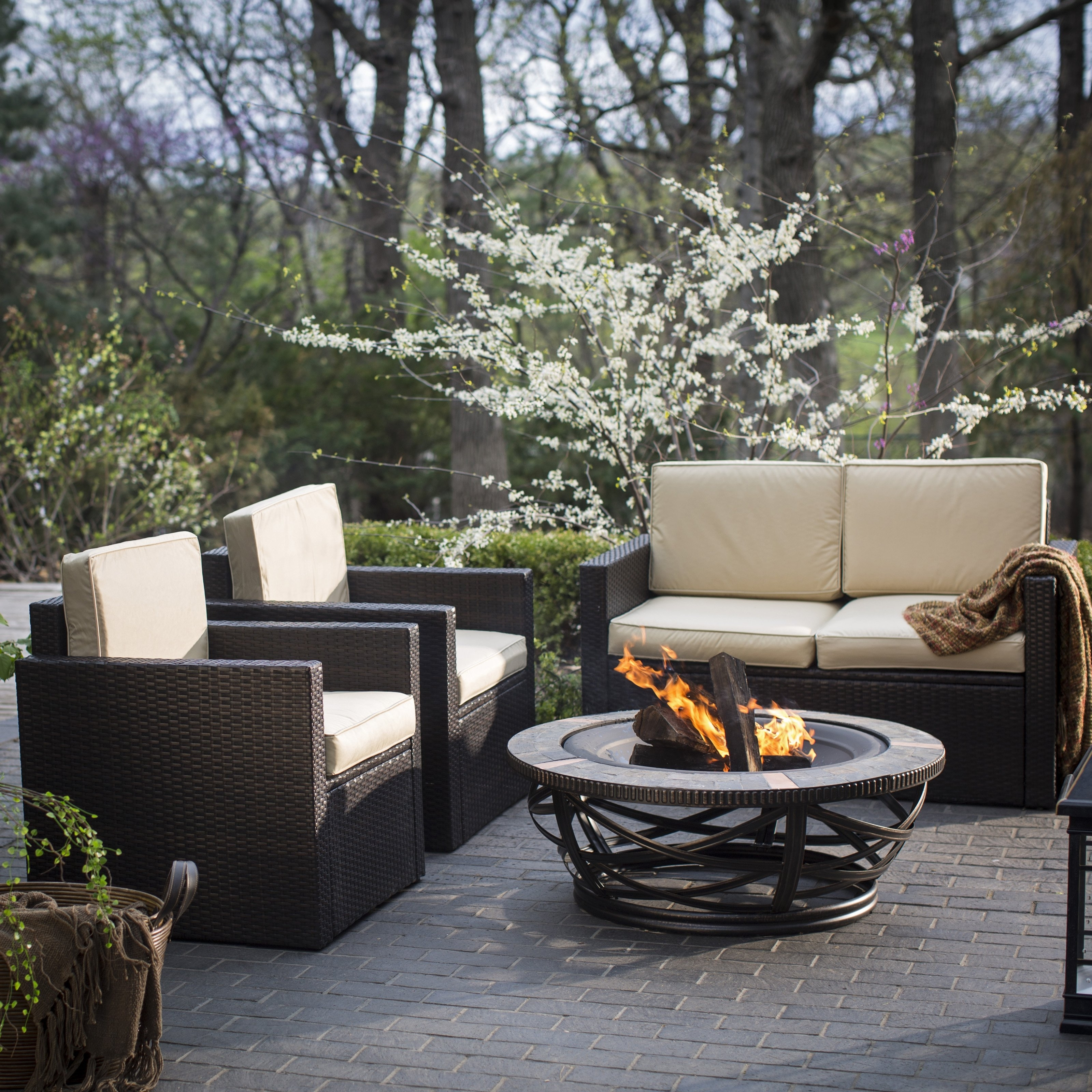 Widely Used Costway 4 Pc Patio Rattan Wicker Chair Sofa Table Set Outdoor Garden Inside Walmart Patio Furniture Conversation Sets (View 13 of 20)