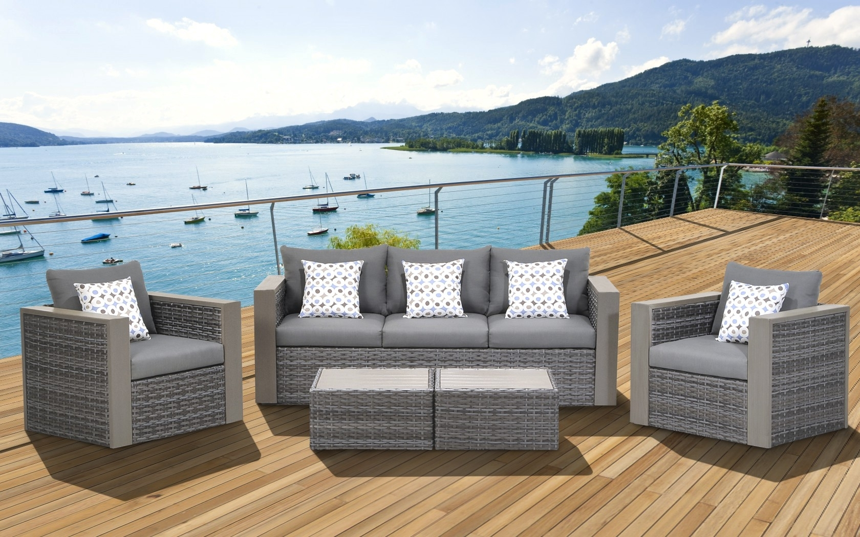 Widely Used Grey Patio Conversation Sets Intended For Cool Wicker Conversation Set 36 Cebu 5 Piece Patio Grey With (View 20 of 20)