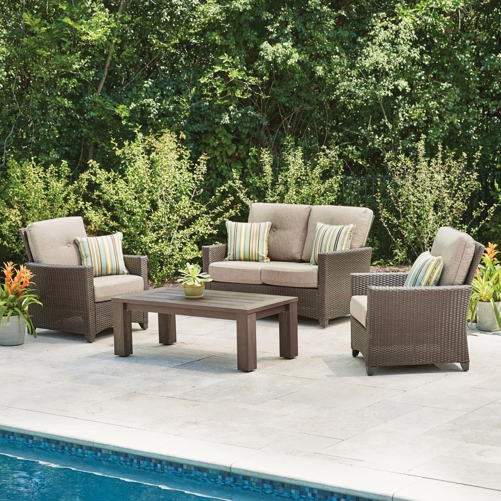 Widely Used Hampton Bay Tacana 4 Piece Wicker Patio Deep Seating Set With Beige Pertaining To Hampton Bay Patio Conversation Sets (View 15 of 20)