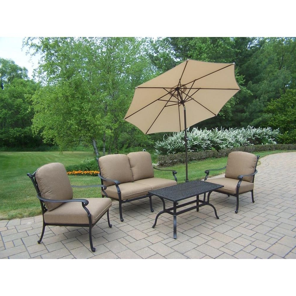 Widely Used Hampton Cast Aluminum 6 Piece Patio Deep Seating Set With Spunpoly Intended For Cast Aluminum Patio Conversation Sets (View 20 of 20)