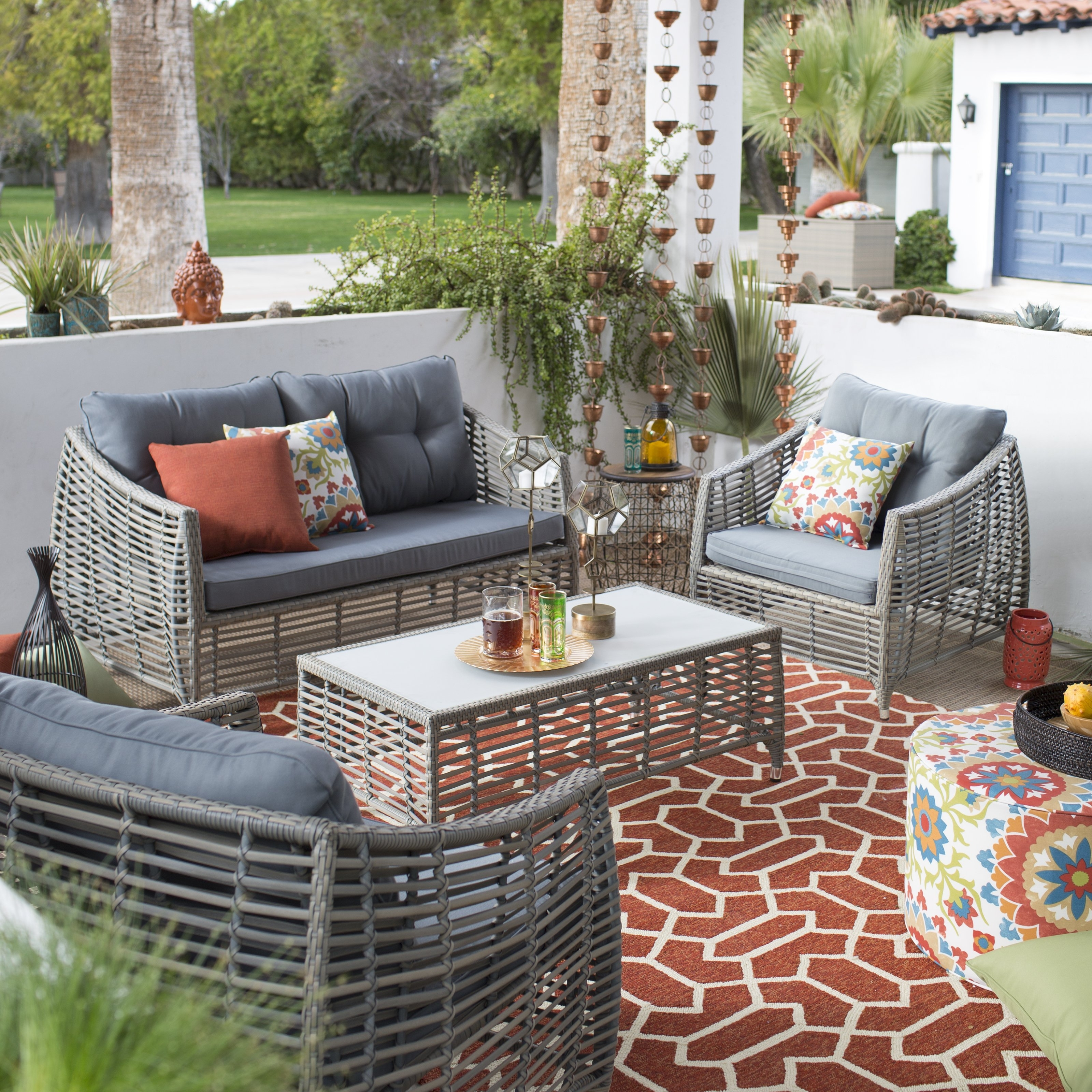 Widely Used Hayneedle Patio Conversation Sets Within Belham Living Kambree All Weather Wicker Outdoor Conversation Set (View 20 of 20)