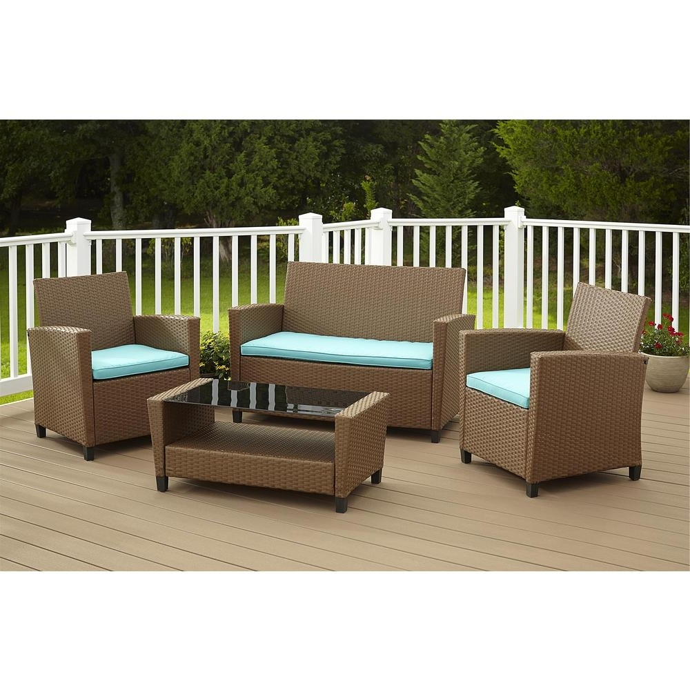 Widely Used Patio Conversation Sets With Blue Cushions Throughout Cosco Malmo 4 Piece Brown Resin Wicker Patio Conversation Set With (View 5 of 20)