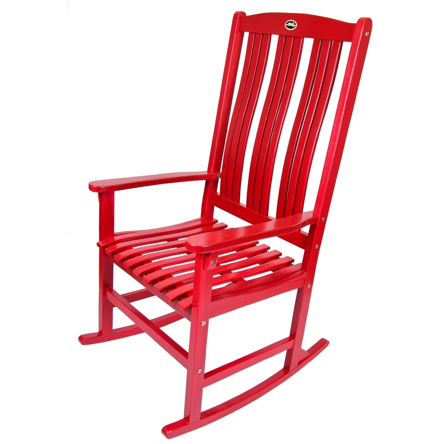 Widely Used Red Patio Rocking Chairs Inside Shop Red Wood Slat Seat Outdoor Rocking Chair At Lowes (View 19 of 20)