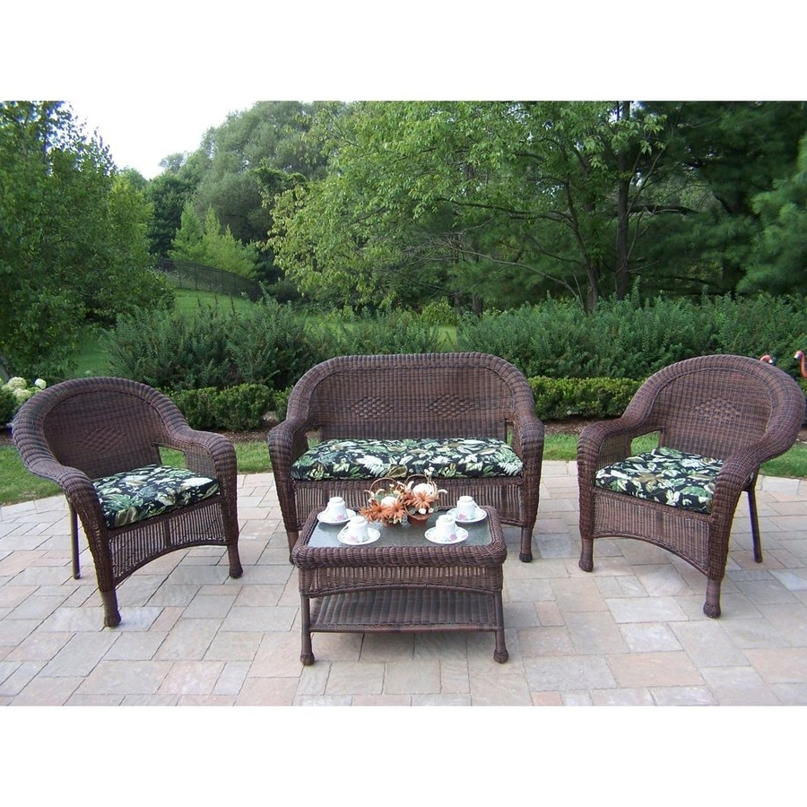 Widely Used Resin Conversation Patio Sets Regarding Shop Oakland Living Resin Wicker 4 Piece Wicker Frame Patio (View 20 of 20)