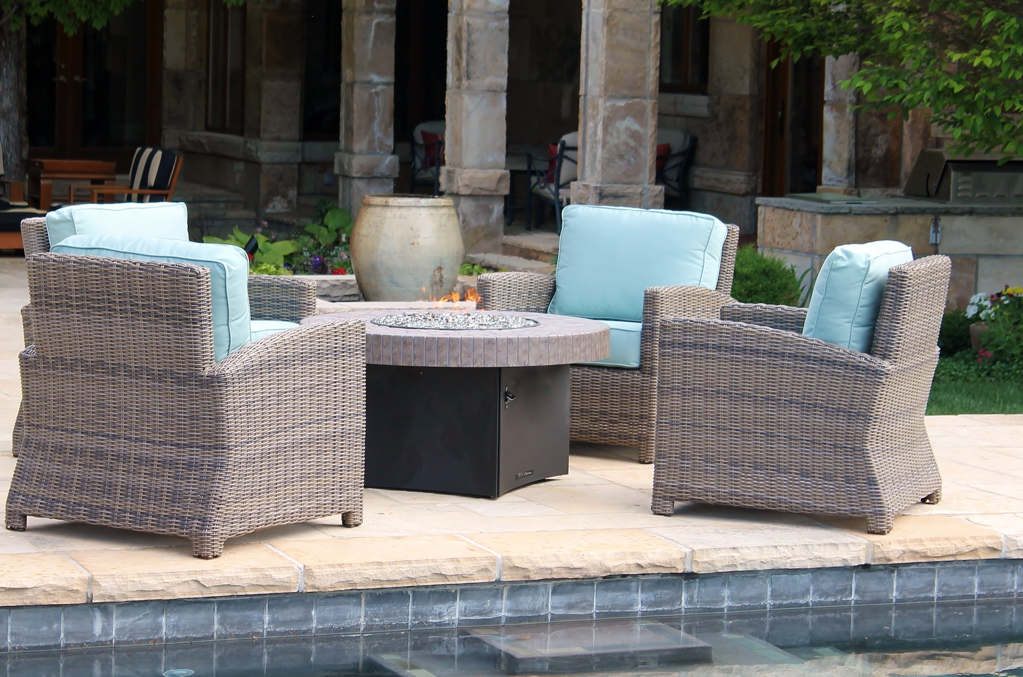 Widely Used Round Patio Conversation Sets Throughout Beautiful Round Propane Fire Pit Table And Chairs Conversation Sets (View 20 of 20)