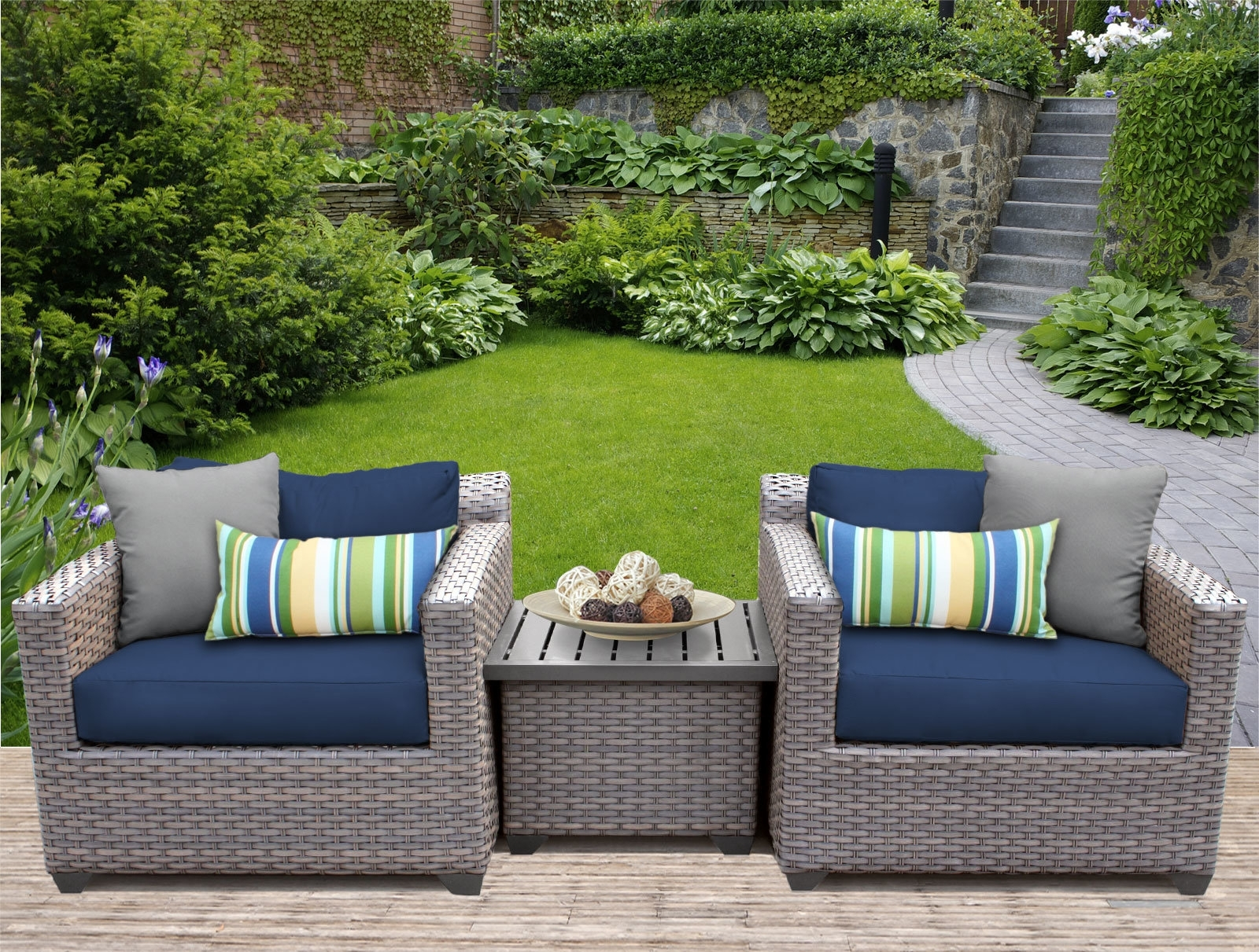Widely Used Tk Classics Florence 3 Piece Rattan Conversation Set With Cushions Pertaining To 3 Piece Patio Conversation Sets (View 20 of 20)
