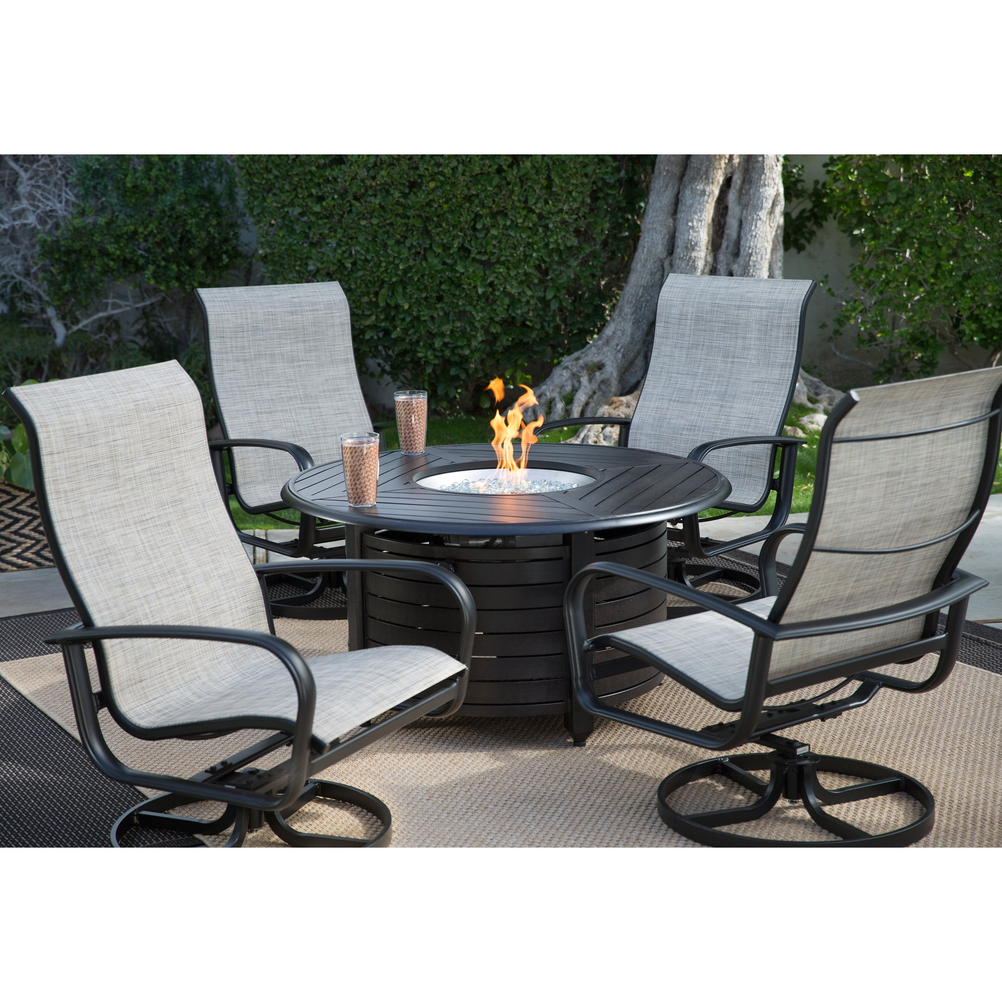 Wonderful Outdoor Conversation Sets With Fire Pit Belham Living Pertaining To Well Known Sling Patio Conversation Sets (View 7 of 20)