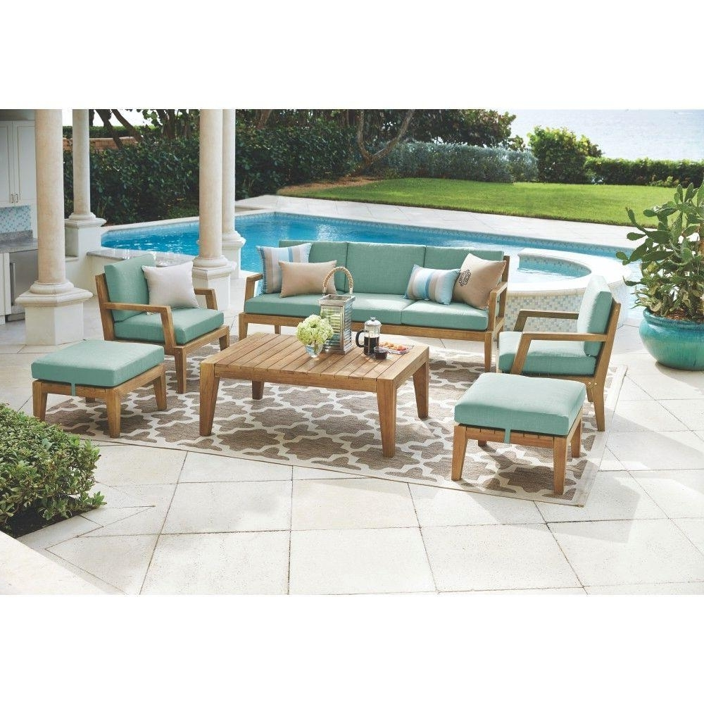 Wood Patio Furniture Conversation Sets Intended For Famous Home Decorators Collection Bermuda 6 Piece All Weather Eucalyptus (View 19 of 20)