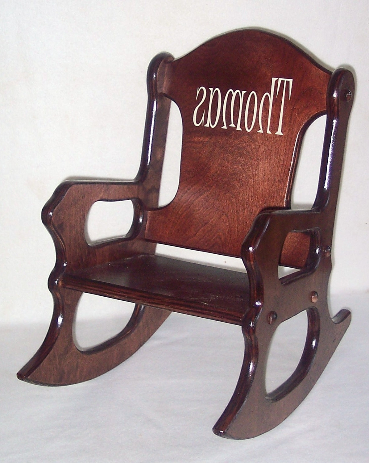 Wooden Kids Rocking Chair Personalized Cherry Finish, Kid Wood Chair Throughout Well Known Rocking Chairs For Toddlers (View 5 of 20)