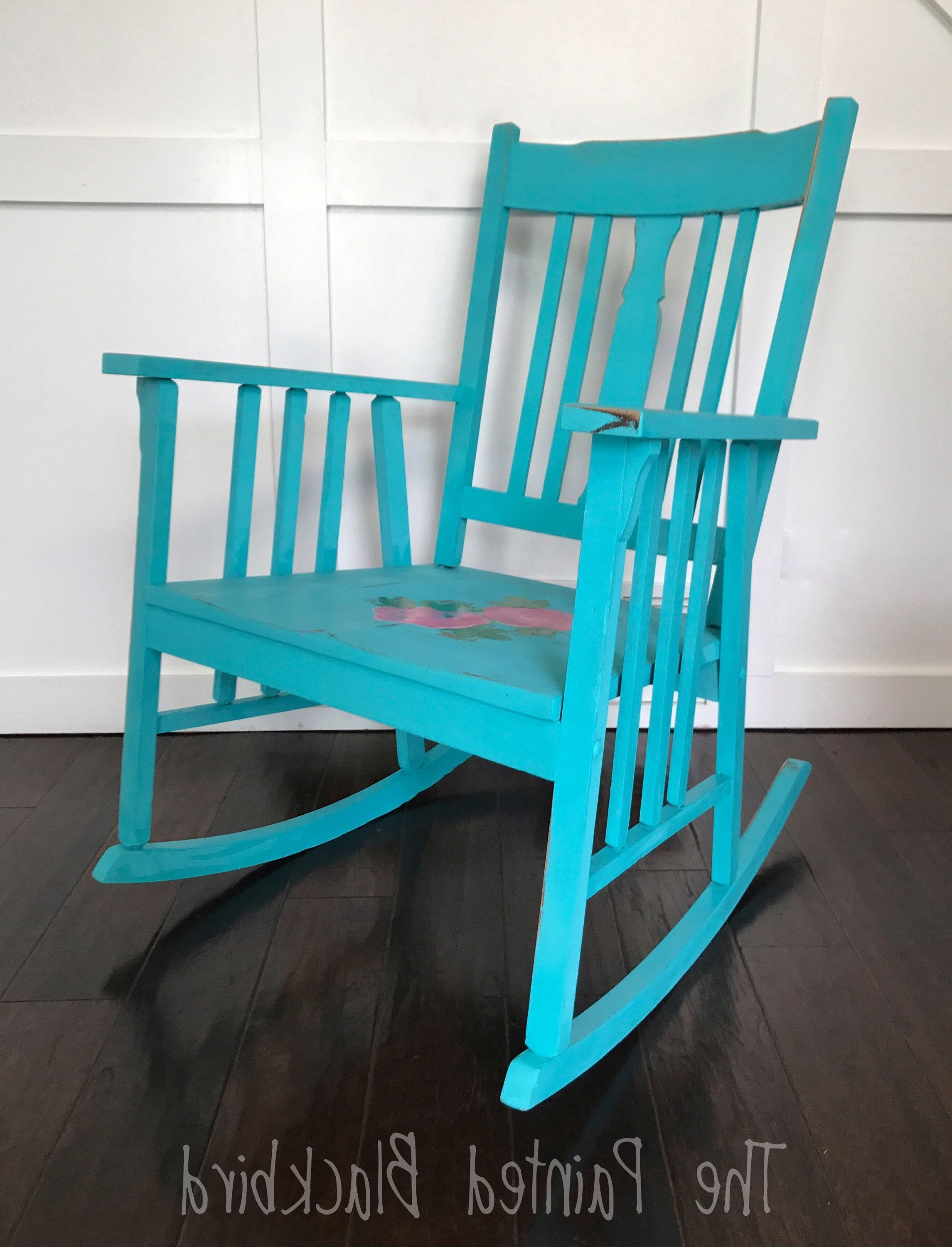 Wooden Rocking Chair, Shabby Chic, French Country, Roses, Turquoise Inside Current Rocking Chairs At Roses (View 11 of 20)