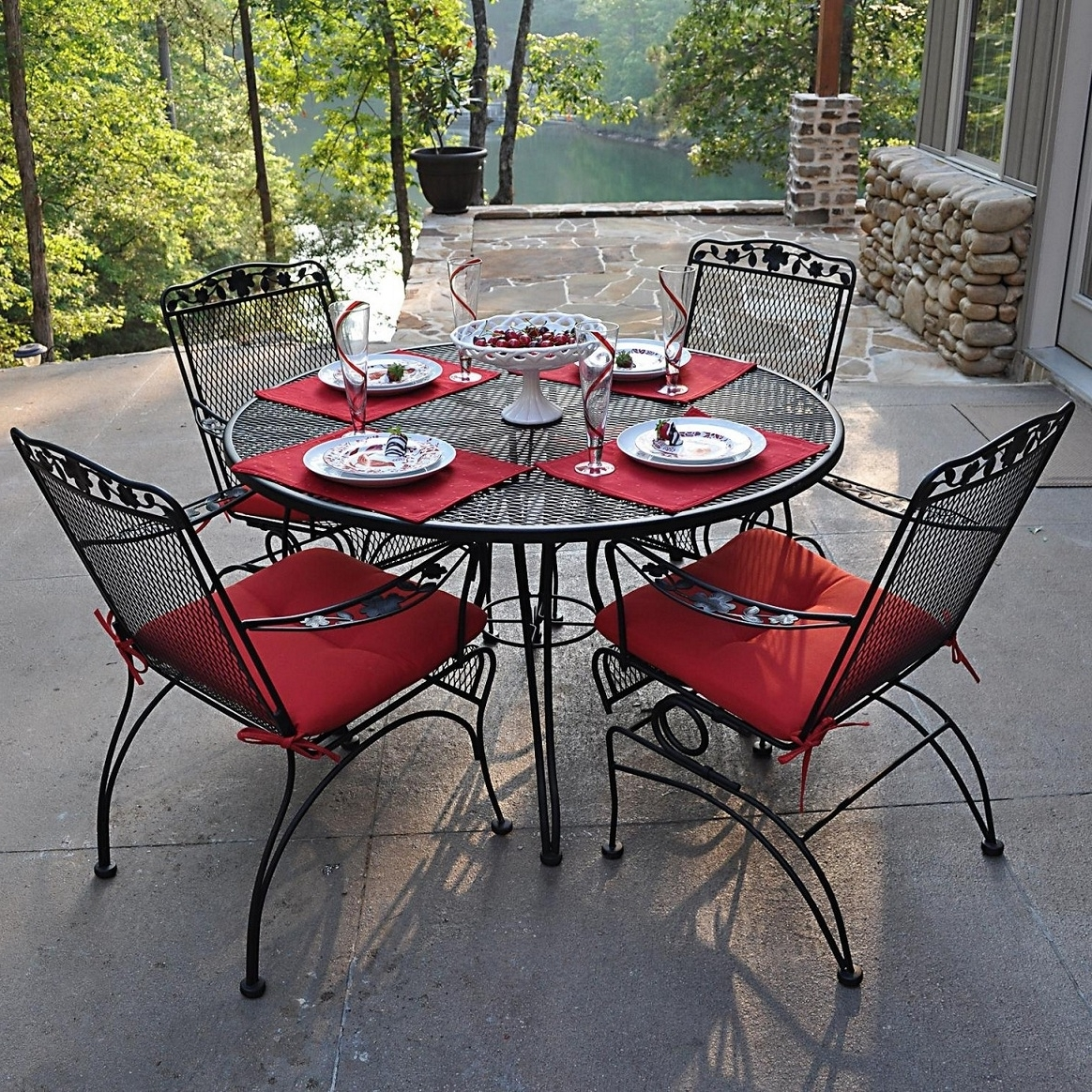 Wrought Iron Patio Conversation Sets With Favorite Outdoor Wrought Iron Patio Furniture Sets – Home Designing Red (View 15 of 20)
