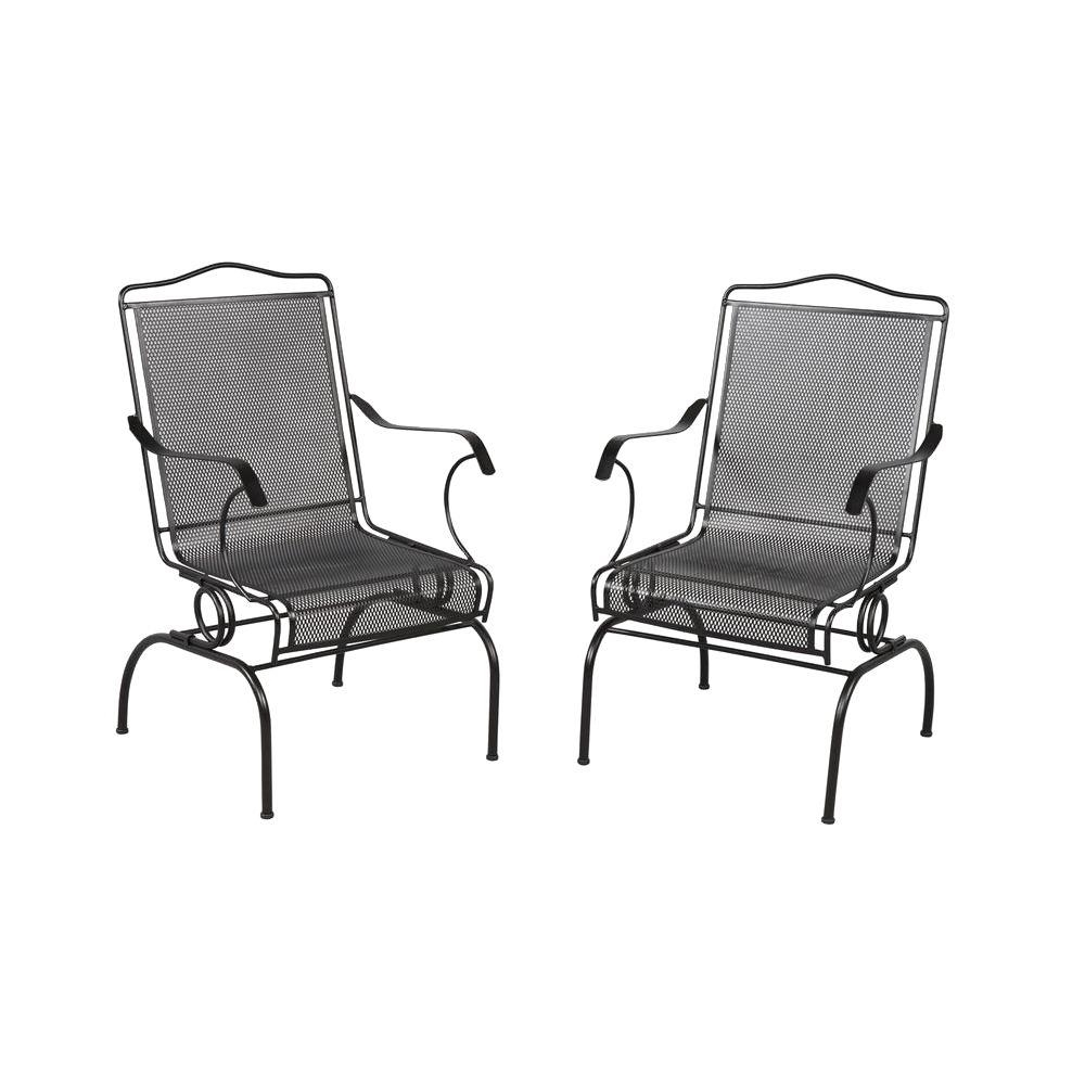 Wrought Iron Patio Rocking Chairs Inside 2018 Hampton Bay Jackson Action Patio Chairs (2 Pack) 7891700  (View 18 of 20)