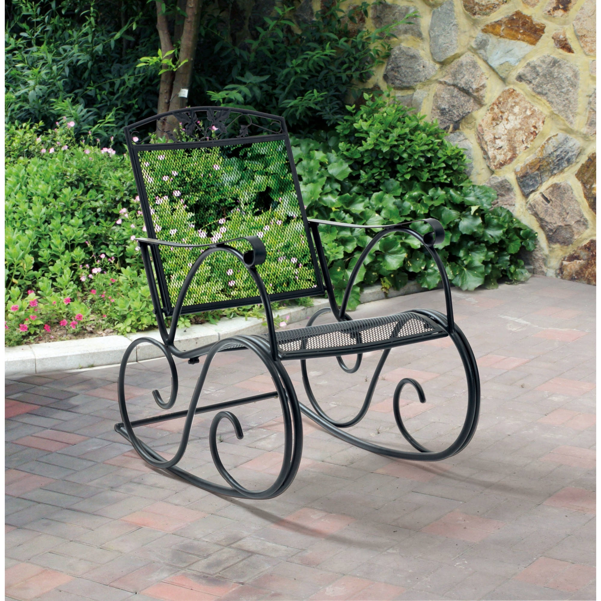 5685e25731f22 Wrought Iron Patio Rocking Chairs With Regard To Most Recently Released Mainstays  Jefferson Outdoor Wrought Iron