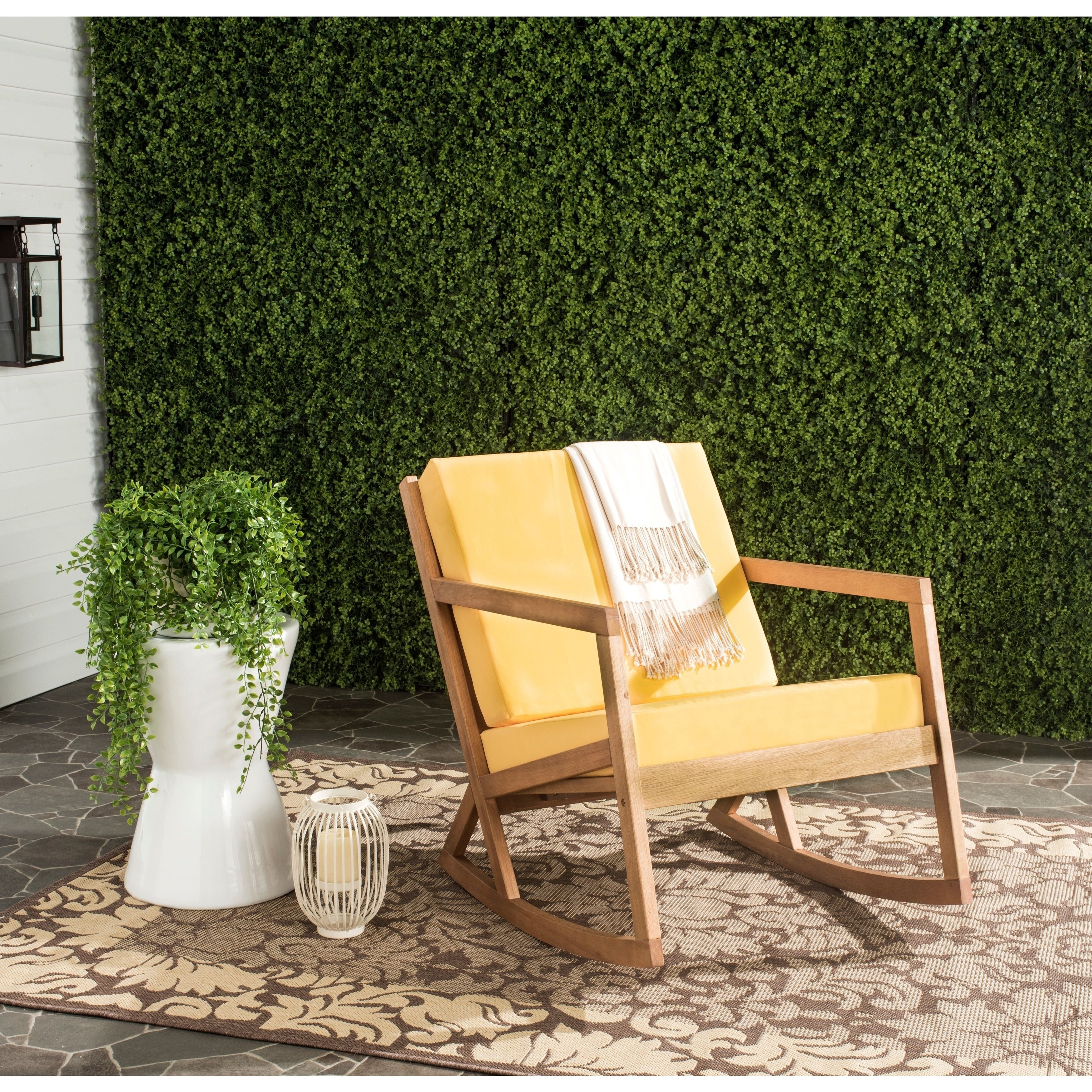 Yellow Outdoor Rocking Chairs Throughout Well Liked Safavieh Outdoor Living Vernon Brown/ Yellow Rocking Chair (Gallery 17 of 20)