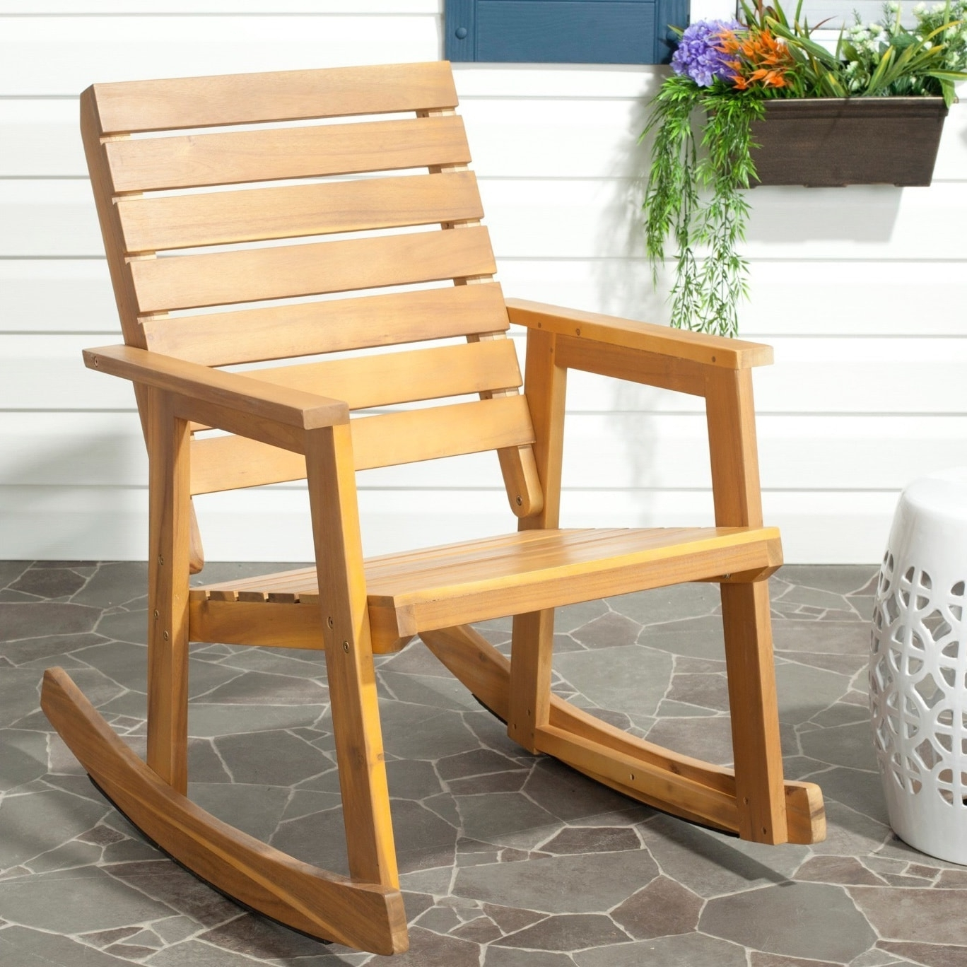 Yellow Outdoor Rocking Chairs With Most Up To Date Shop Safavieh Outdoor Alexei Rocking Chair – On Sale – Free Shipping (View 6 of 20)