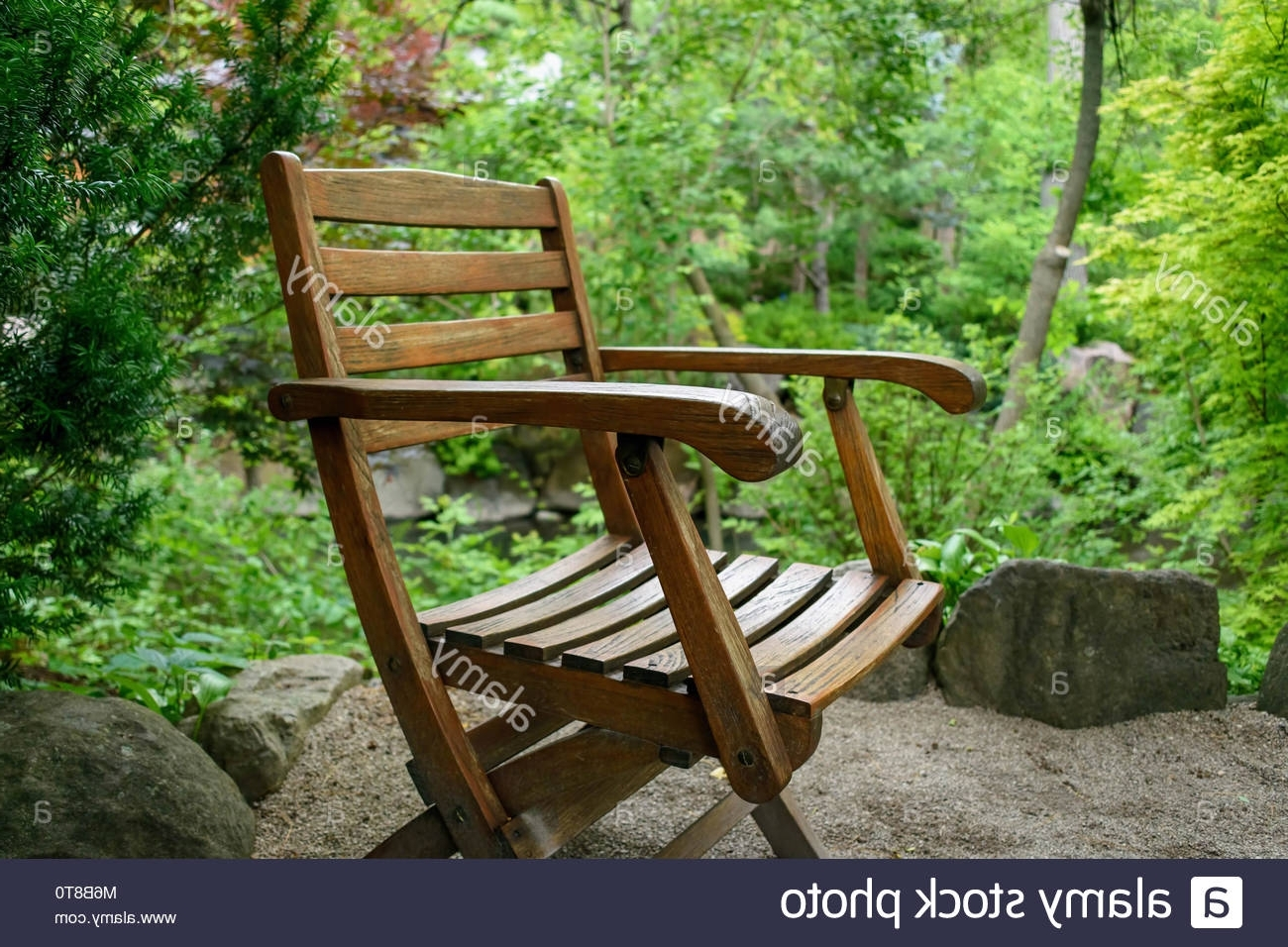 Zen Rocking Chairs Inside Recent Weathered Wood Chair Sitting Outside In Japanese Zen Garden Stock (Gallery 10 of 20)