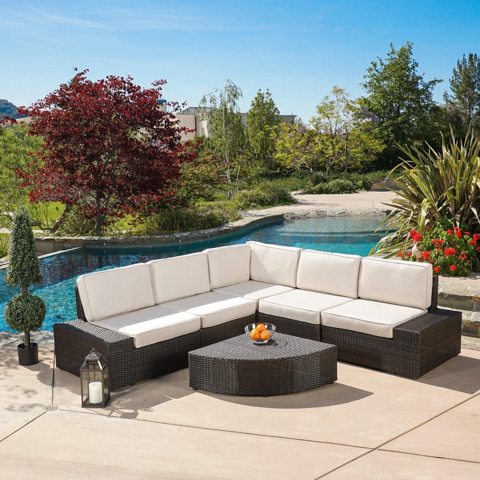 Zora Outdoor 6 Piece Sofa Conversation Set – Walmart Regarding Current Patio Conversation Sets With Sunbrella Cushions (Gallery 15 of 20)