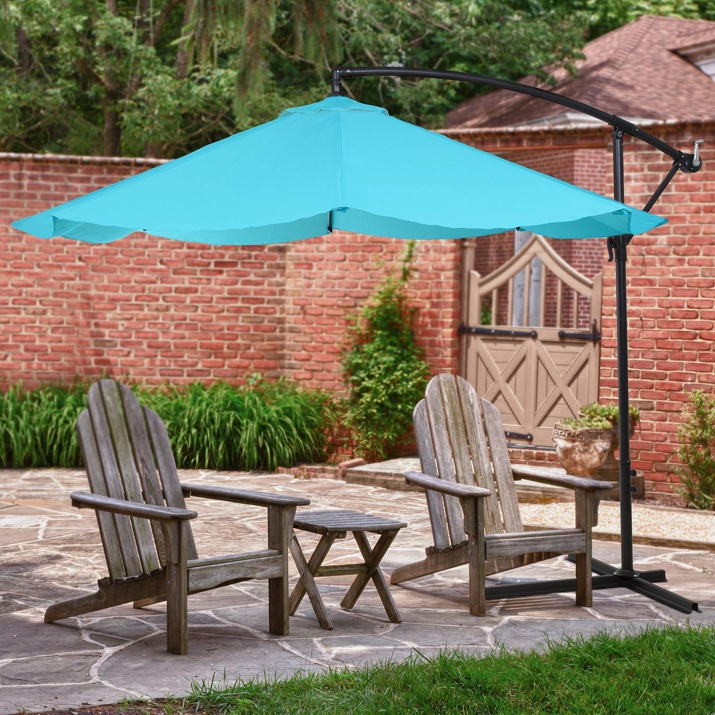 """10"""" Blue Offset Aluminum Hanging Patio Umbrella (View 9 of 20)"""