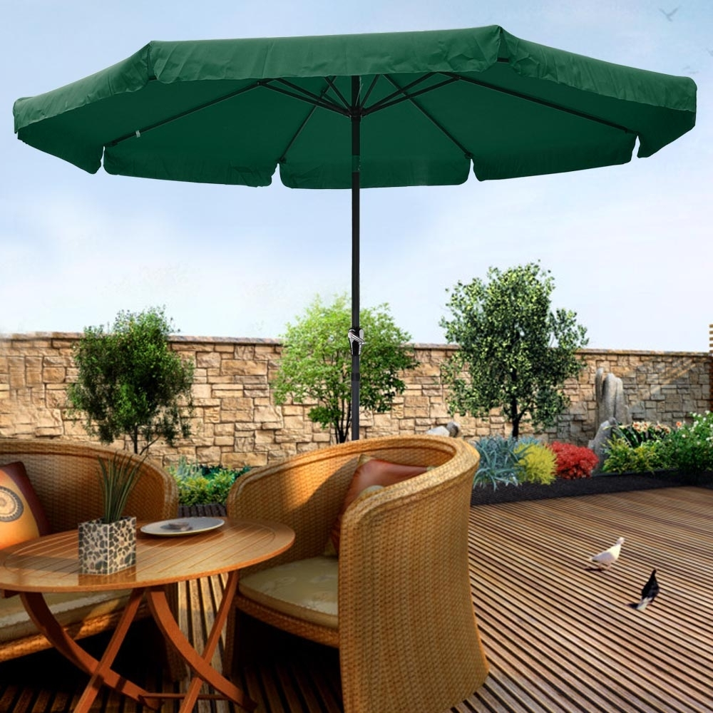 10Ft Aluminum Outdoor Patio Umbrella W/valance Crank Tilt Sunshade With Most Popular 10 Ft Patio Umbrellas (View 5 of 20)