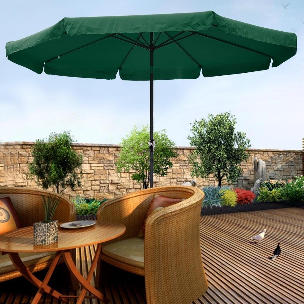 10Ft Aluminum Outdoor Patio Umbrella W/valance Crank Tilt Sunshade With Most Popular 10 Ft Patio Umbrellas (Gallery 10 of 20)