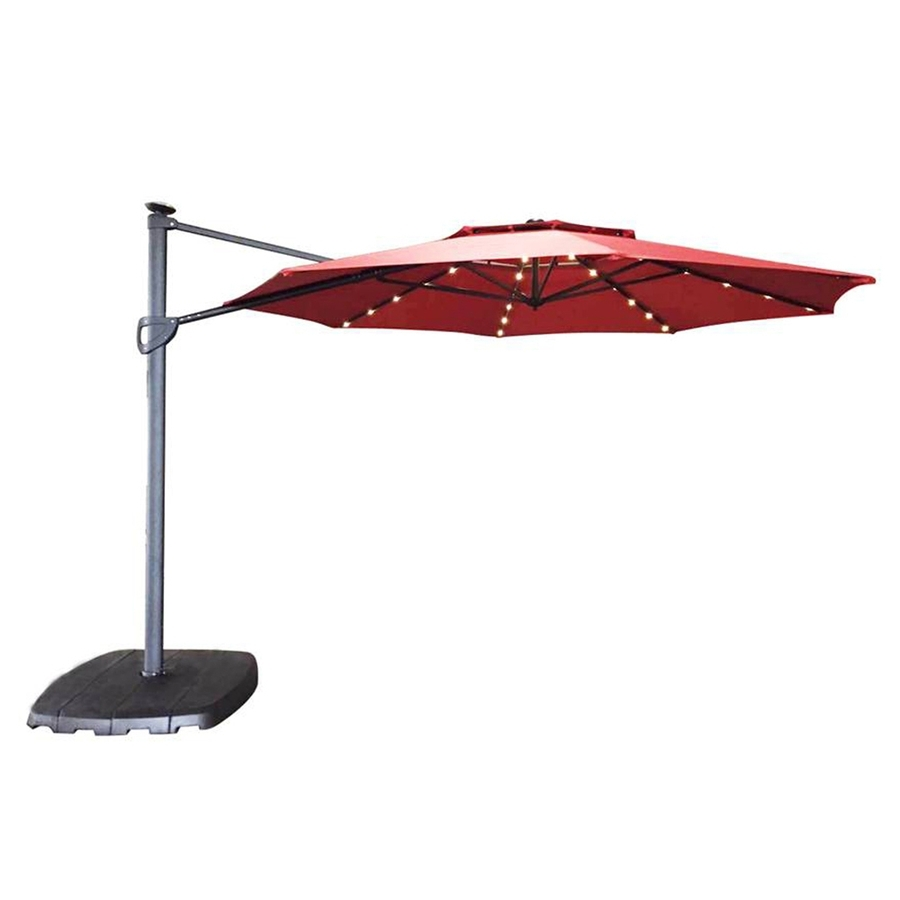 11 Foot Patio Umbrellas Within 2018 Shop Simply Shade Red Offset Pre Lit 11 Ft Patio Umbrella With Base (Gallery 6 of 20)
