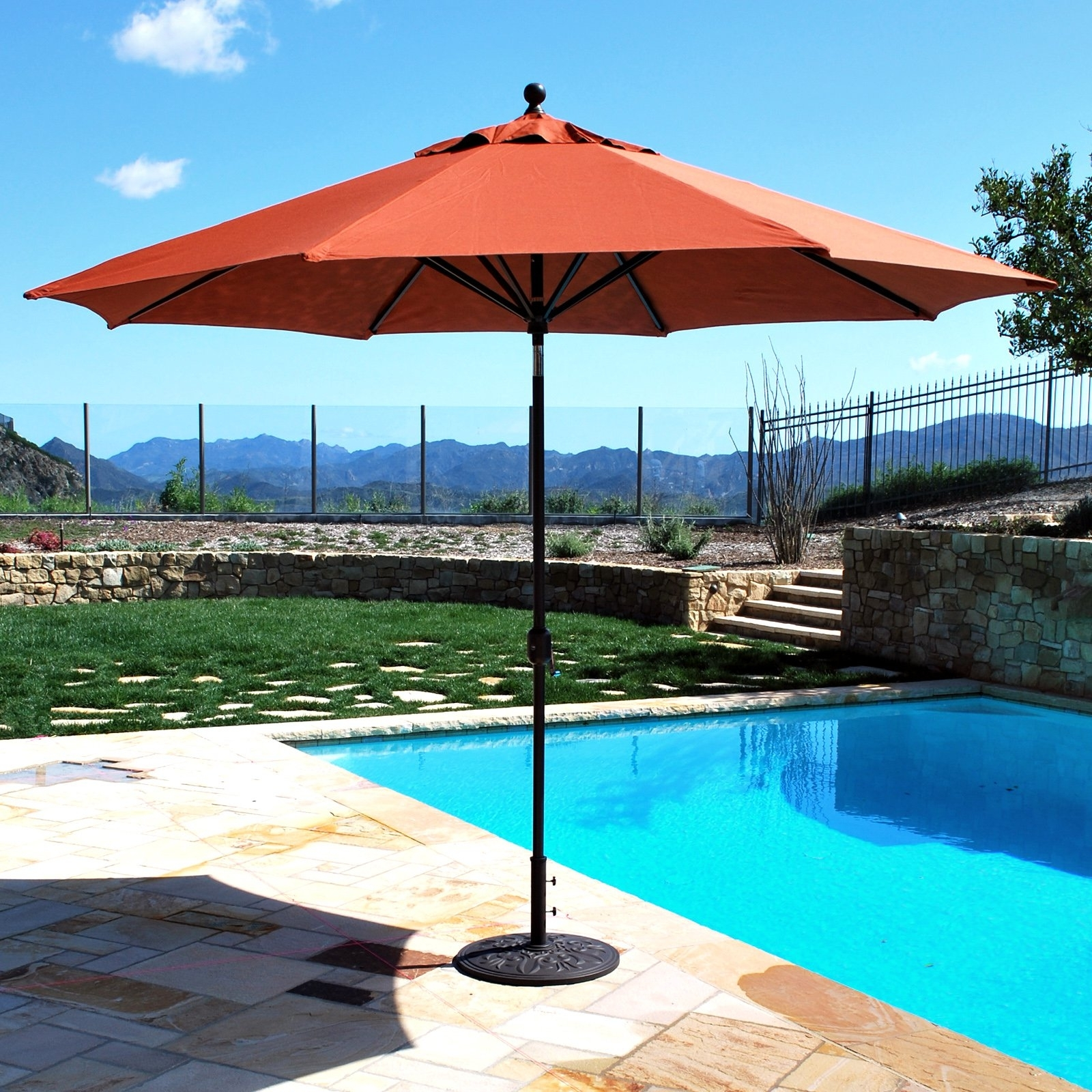 11 Ft Patio Umbrellas With Best And Newest Galtech Sunbrella 11 Ft. Maximum Shade Deluxe Aluminum Auto Tilt (Gallery 19 of 20)