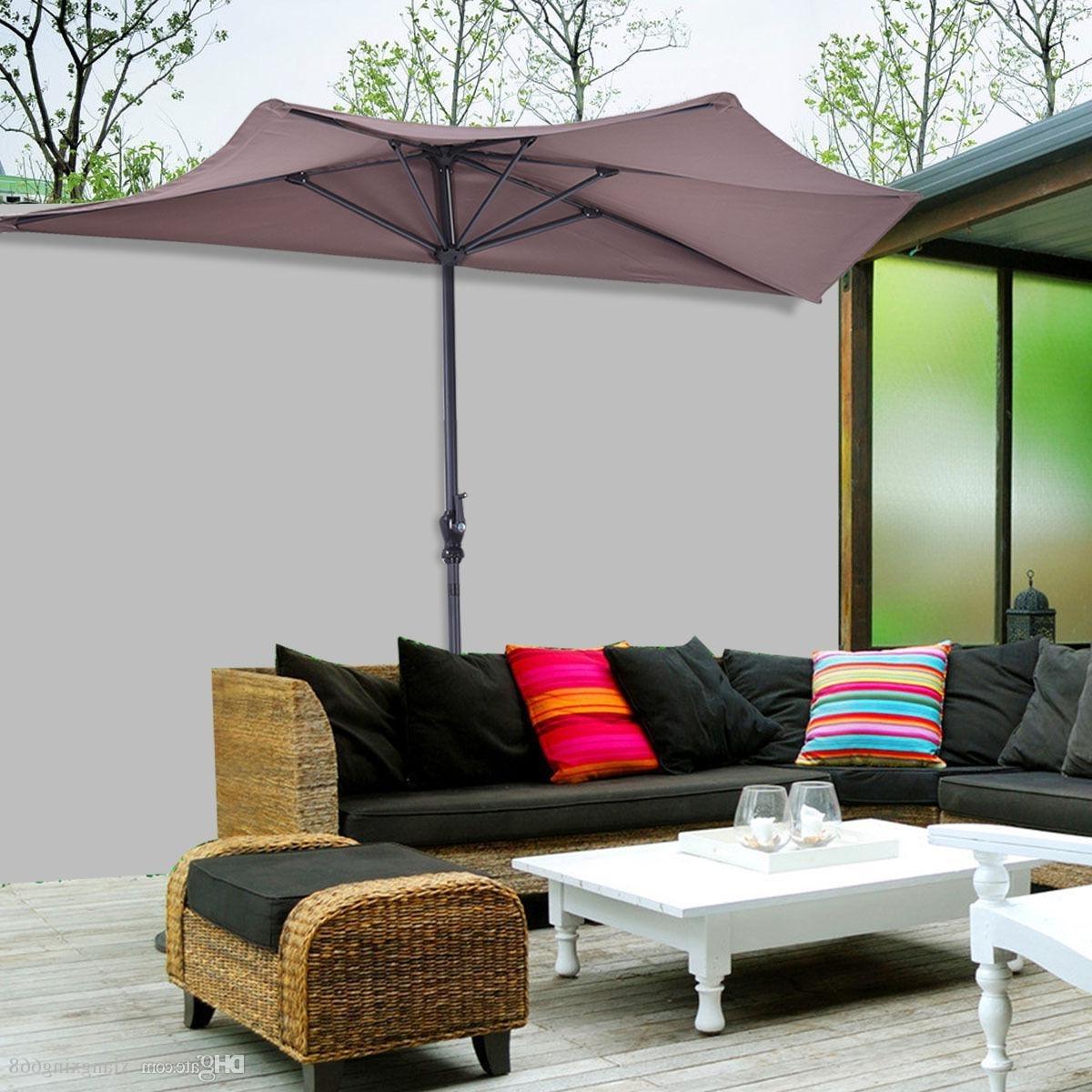 2018 9Ft Half Round Umbrella Patio Bistro Wall Balcony Door Window In Famous Half Patio Umbrellas (Gallery 3 of 20)
