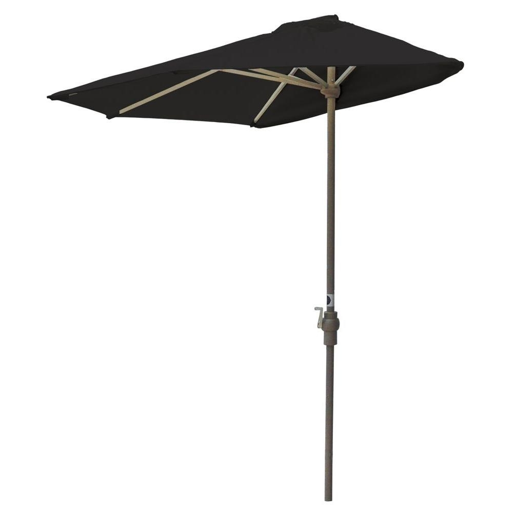 2018 Blue Star Group Off The Wall Brella 7.5 Ft. Patio Half Umbrella In For Black Patio Umbrellas (Gallery 4 of 20)
