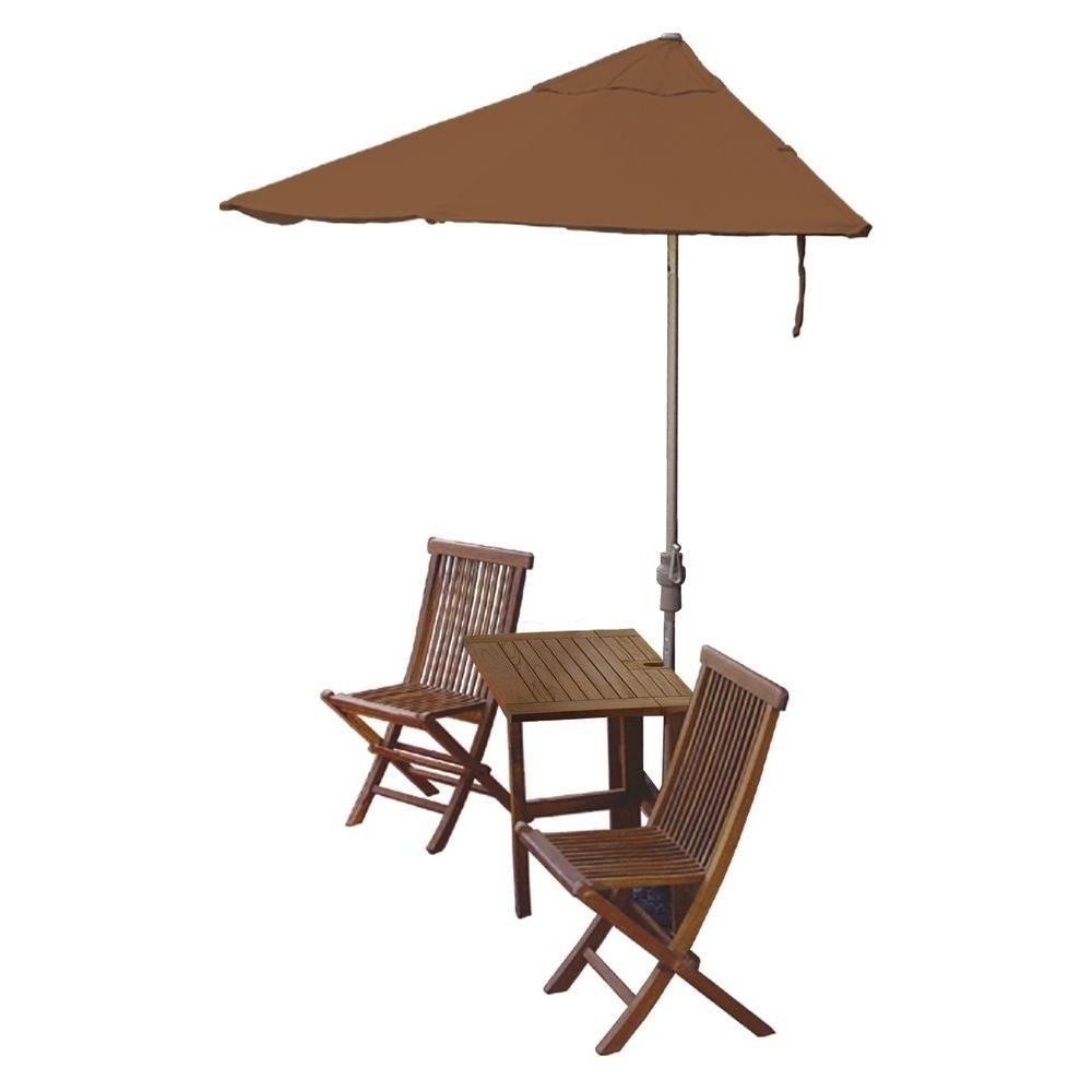 2018 Blue Star Group Terrace Mates Villa Economy 5 Piece Patio Bistro Set In Sunbrella Teak Umbrellas (Gallery 9 of 20)