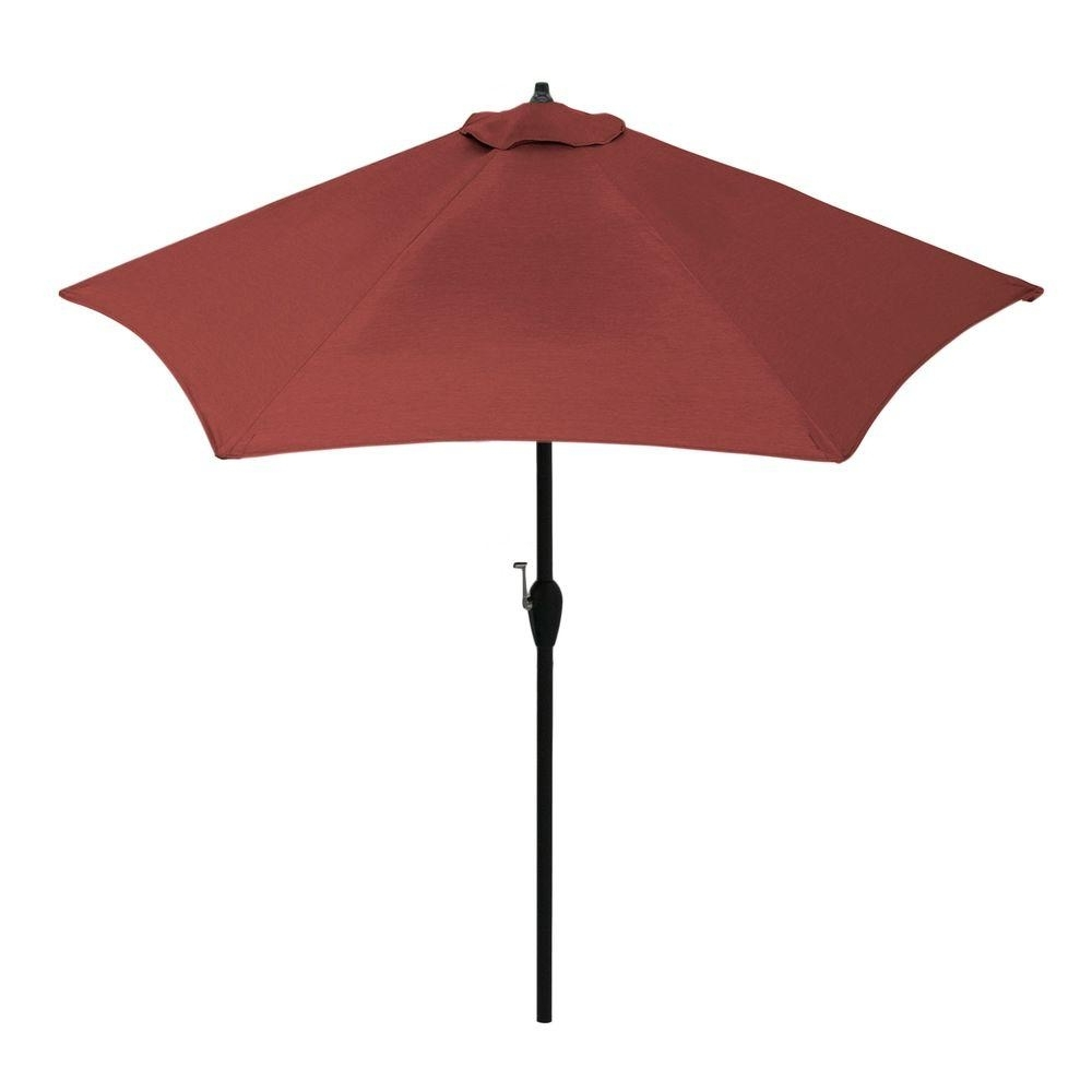 2018 Hampton Bay 9 Ft. Aluminum Patio Umbrella In Sunbrella Canvas Henna In Red Sunbrella Patio Umbrellas (Gallery 15 of 20)