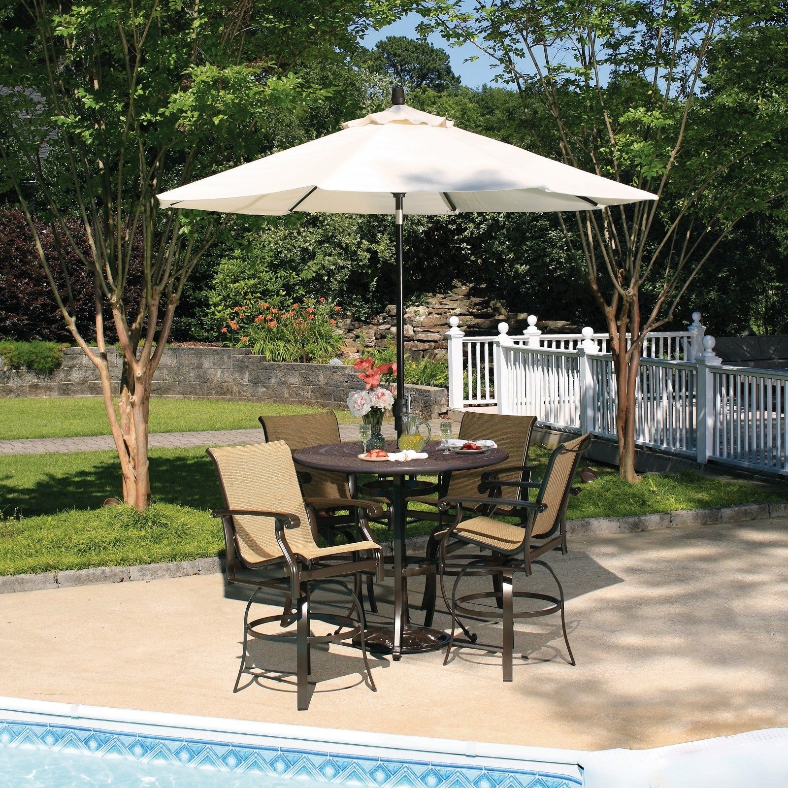 2018 Patio Furniture Sets Bar Height Among White Umbrella (View 4 of 20)