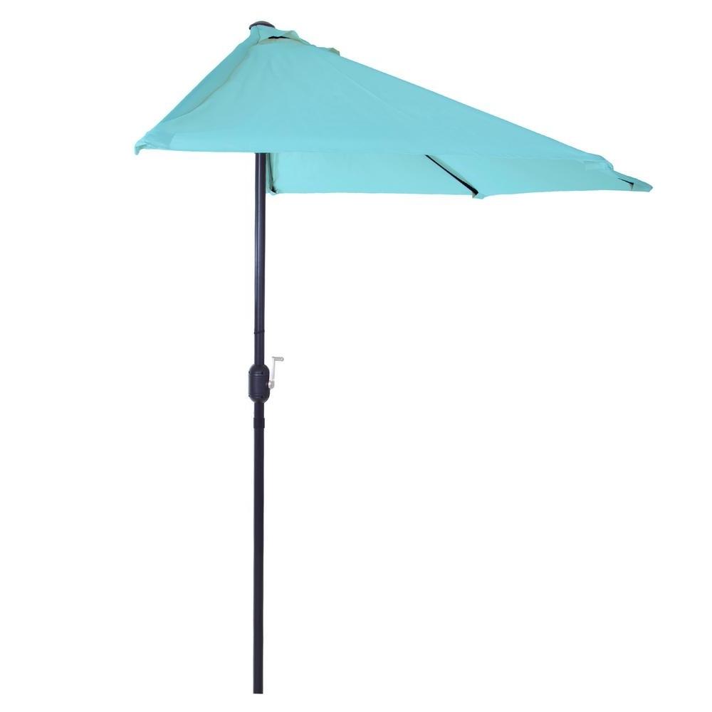 2018 Pure Garden 9 Ft. Half Round Patio Umbrella In Blue M150053 – The For Half Patio Umbrellas (Gallery 4 of 20)