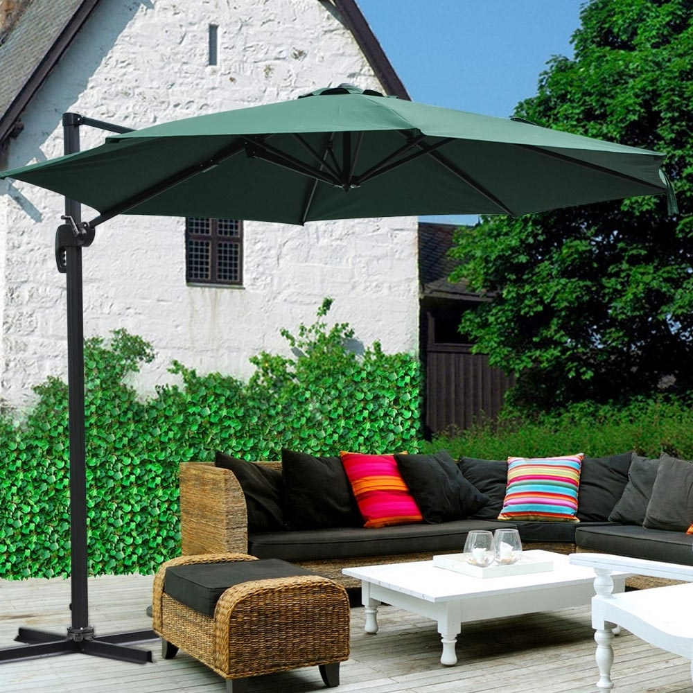 2018 Red Sunbrella Patio Umbrellas Pertaining To 10' Roma Offset Patio Umbrella 8 Ribs 200G/sqm Outdoor Cantilever (Gallery 12 of 20)