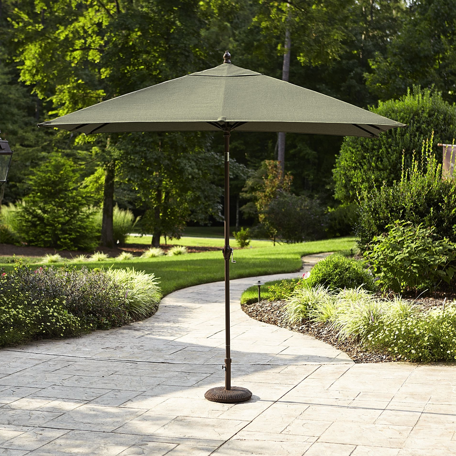 2018 Sears Patio Umbrellas Inside Sears: Green La Z Boy Madeline 9' X 6' Rectangular Patio Umbrella (View 1 of 20)