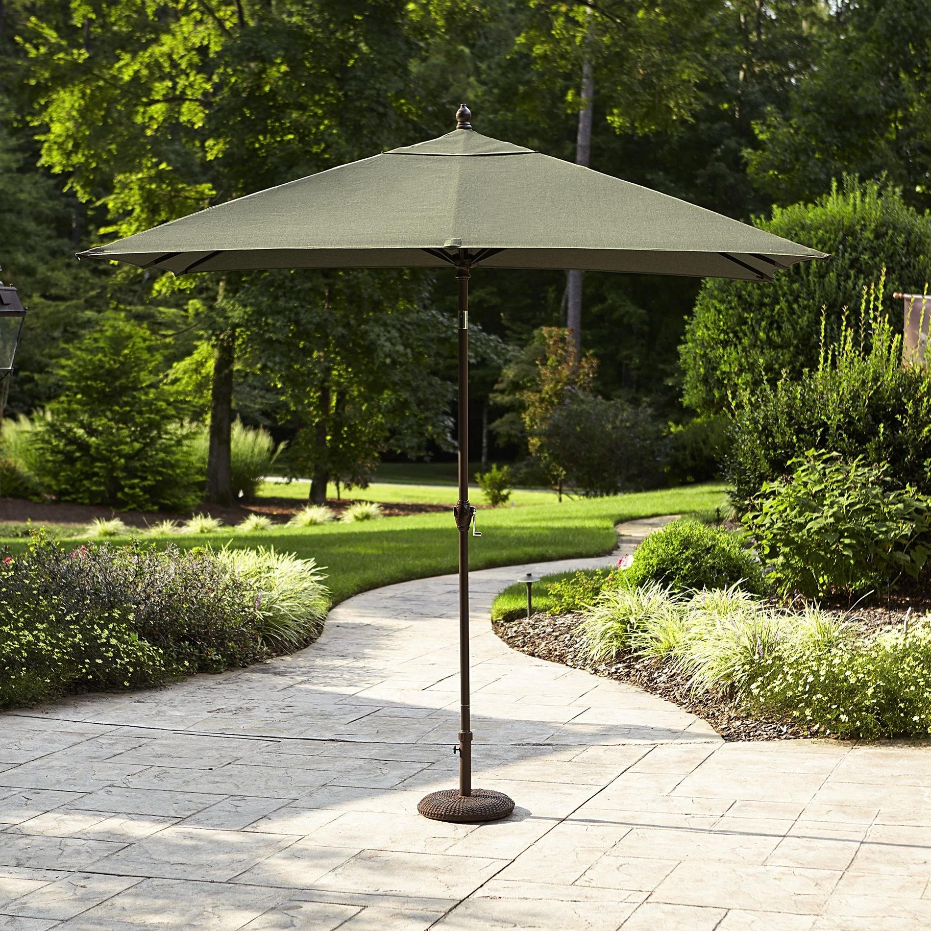 2018 Sears Patio Umbrellas Inside Sears: Green La Z Boy Madeline 9' X 6' Rectangular Patio Umbrella (View 17 of 20)